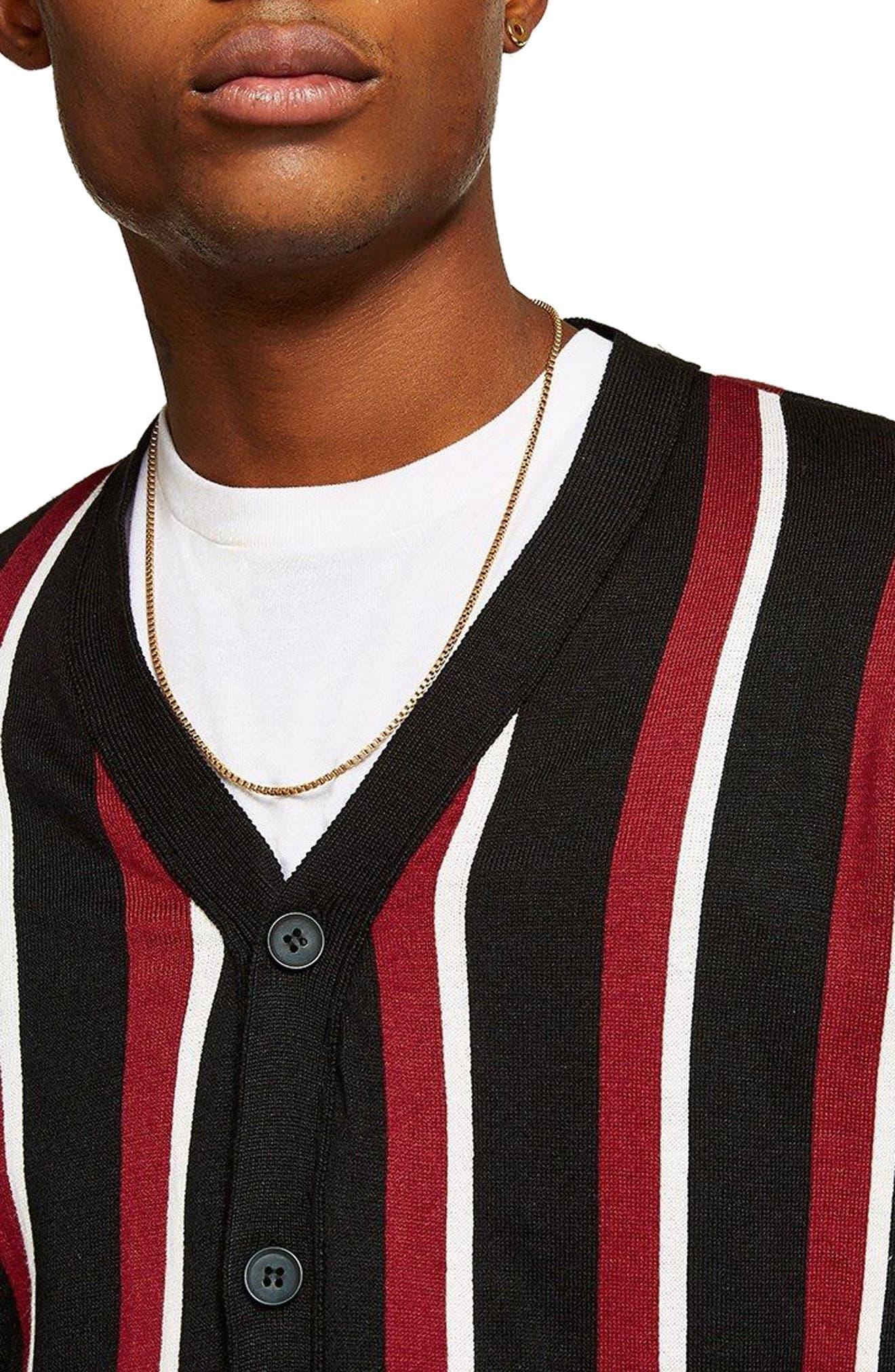 Slim Fit Stripe Cardigan,                             Alternate thumbnail 3, color,                             Black Multi