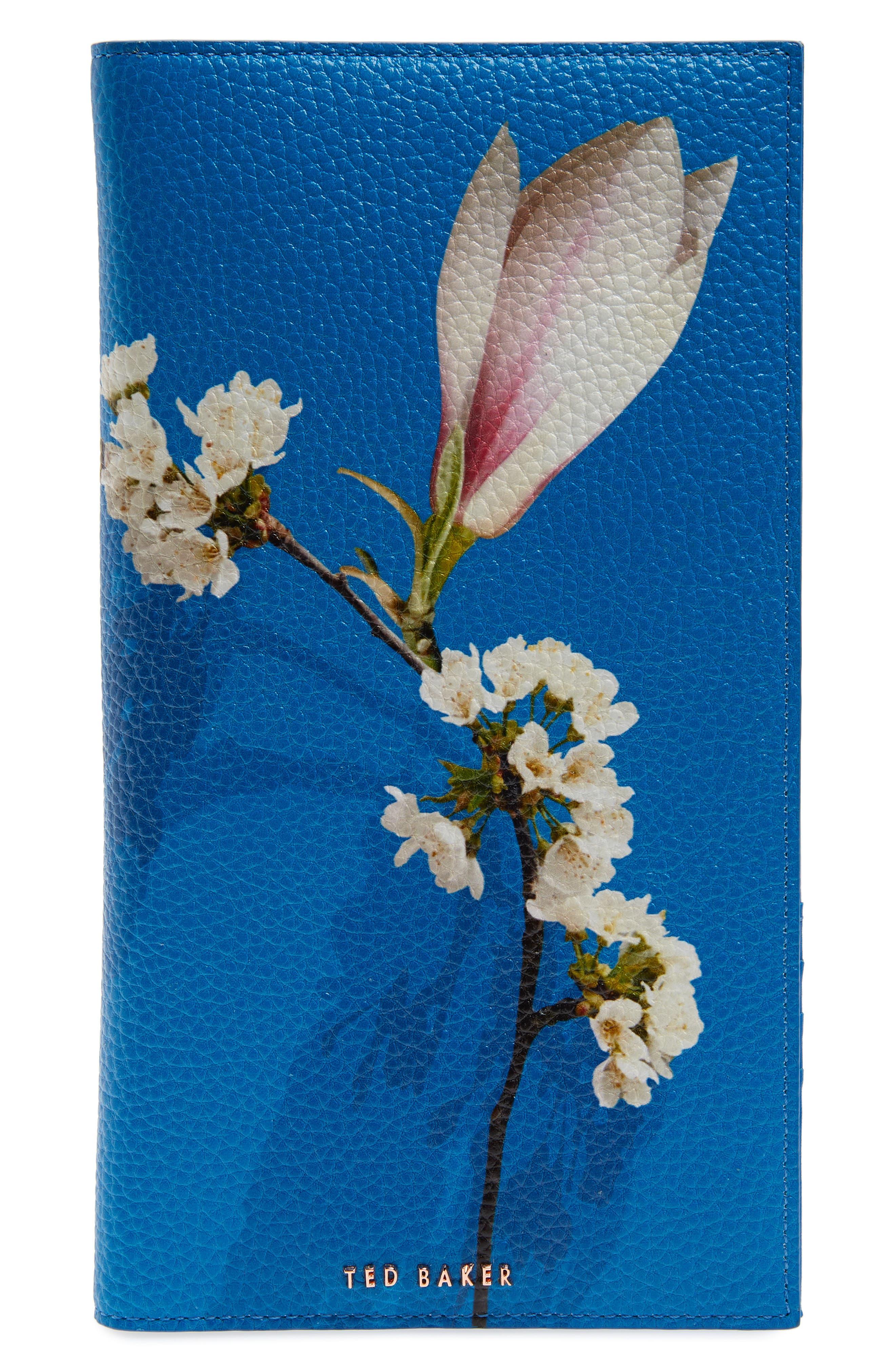 Sharon Harmony Print Leather Travel Wallet,                             Main thumbnail 1, color,                             Bright Blue