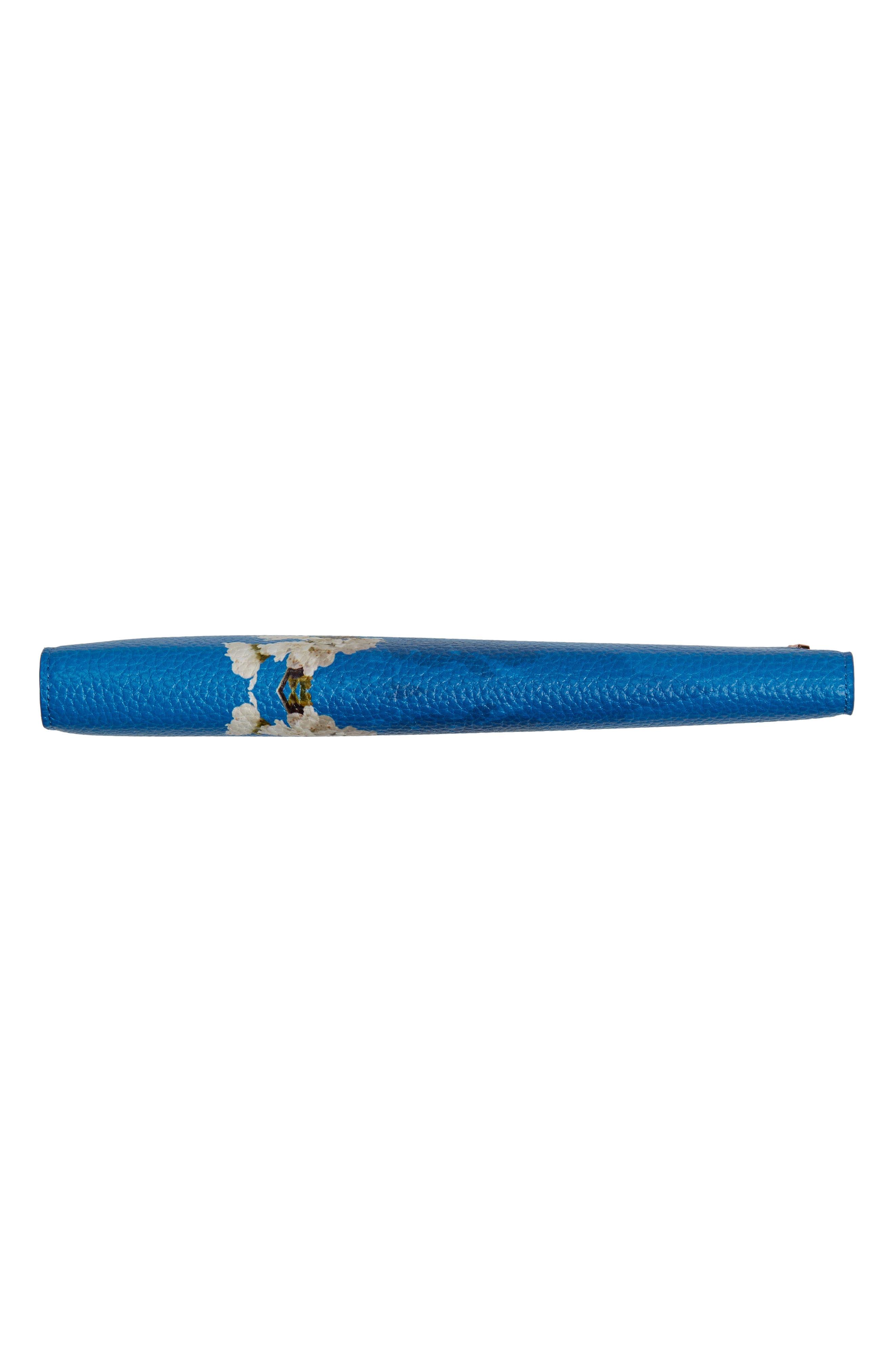 Sharon Harmony Print Leather Travel Wallet,                             Alternate thumbnail 6, color,                             Bright Blue