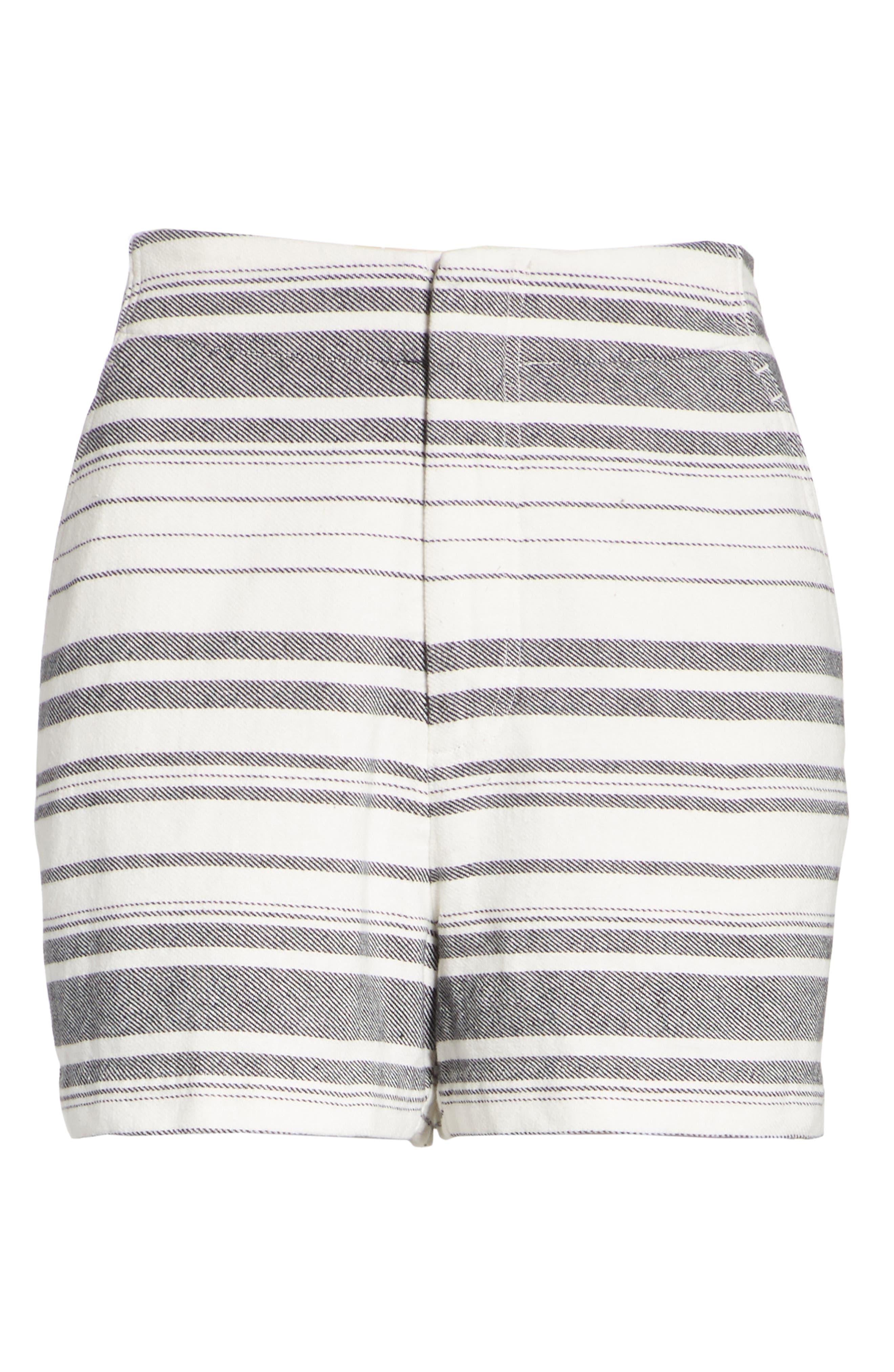 Brusha Stripe Cotton Twill Shorts,                             Alternate thumbnail 6, color,                             Caviar