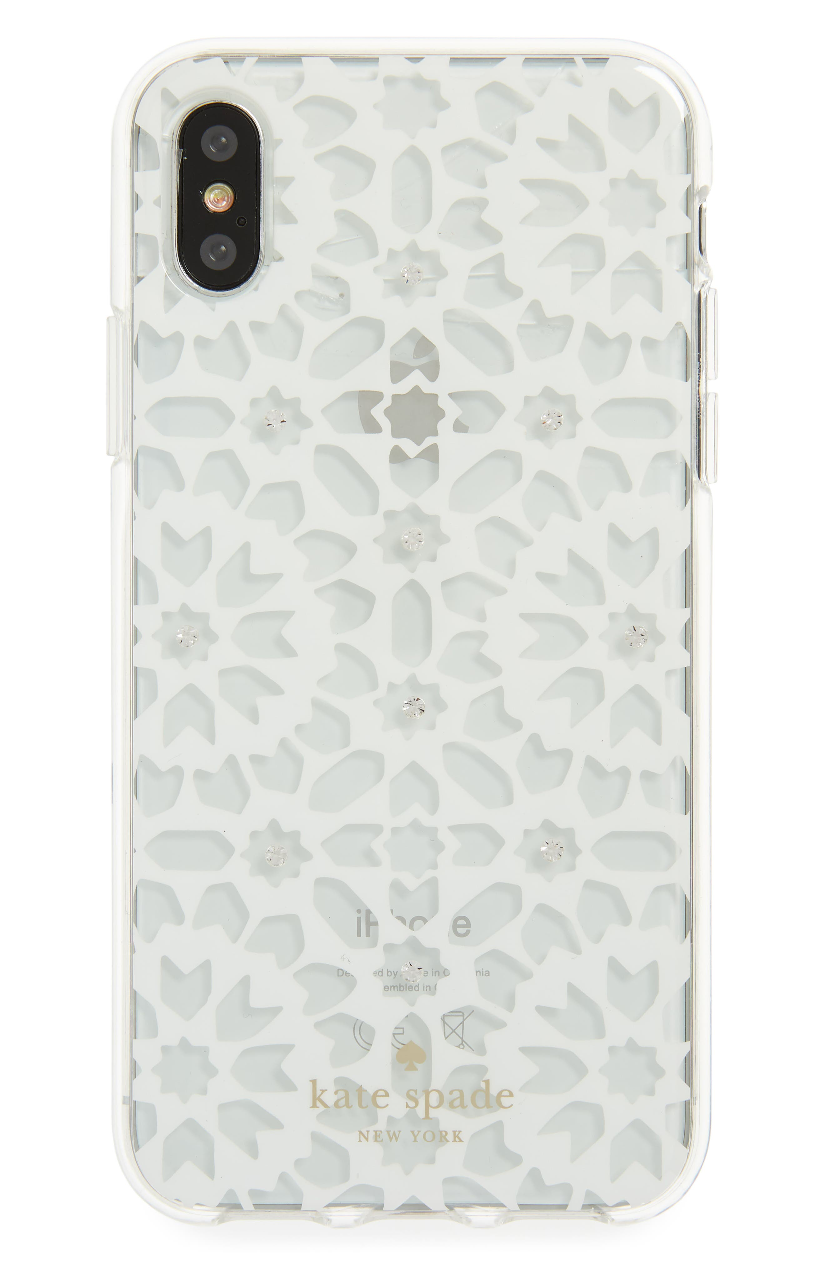 jewel floral mosaic iPhone X case,                             Main thumbnail 1, color,                             Clear Multi