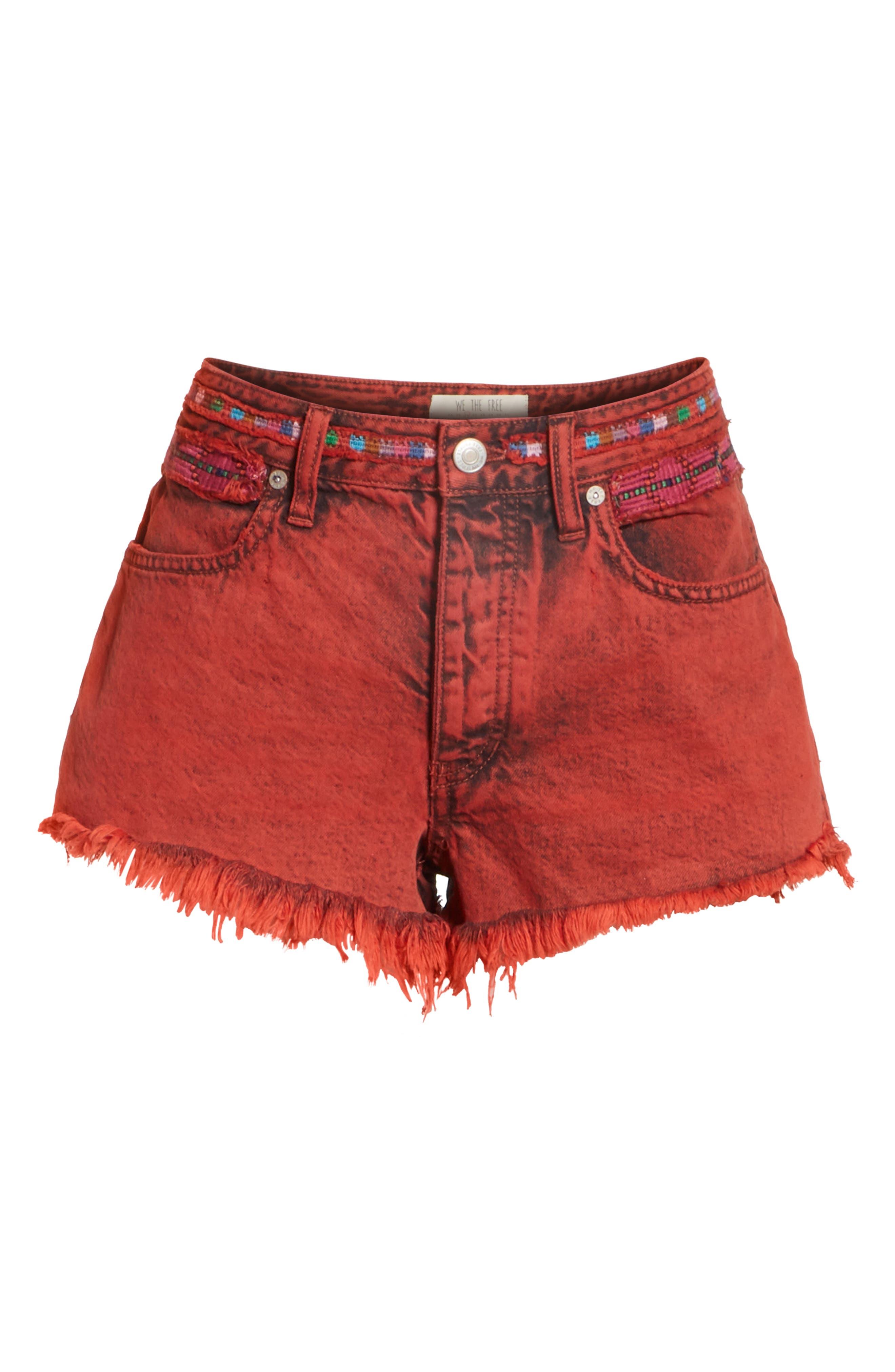 Sun Break Embellished Cutoff Shorts,                             Alternate thumbnail 6, color,                             Red
