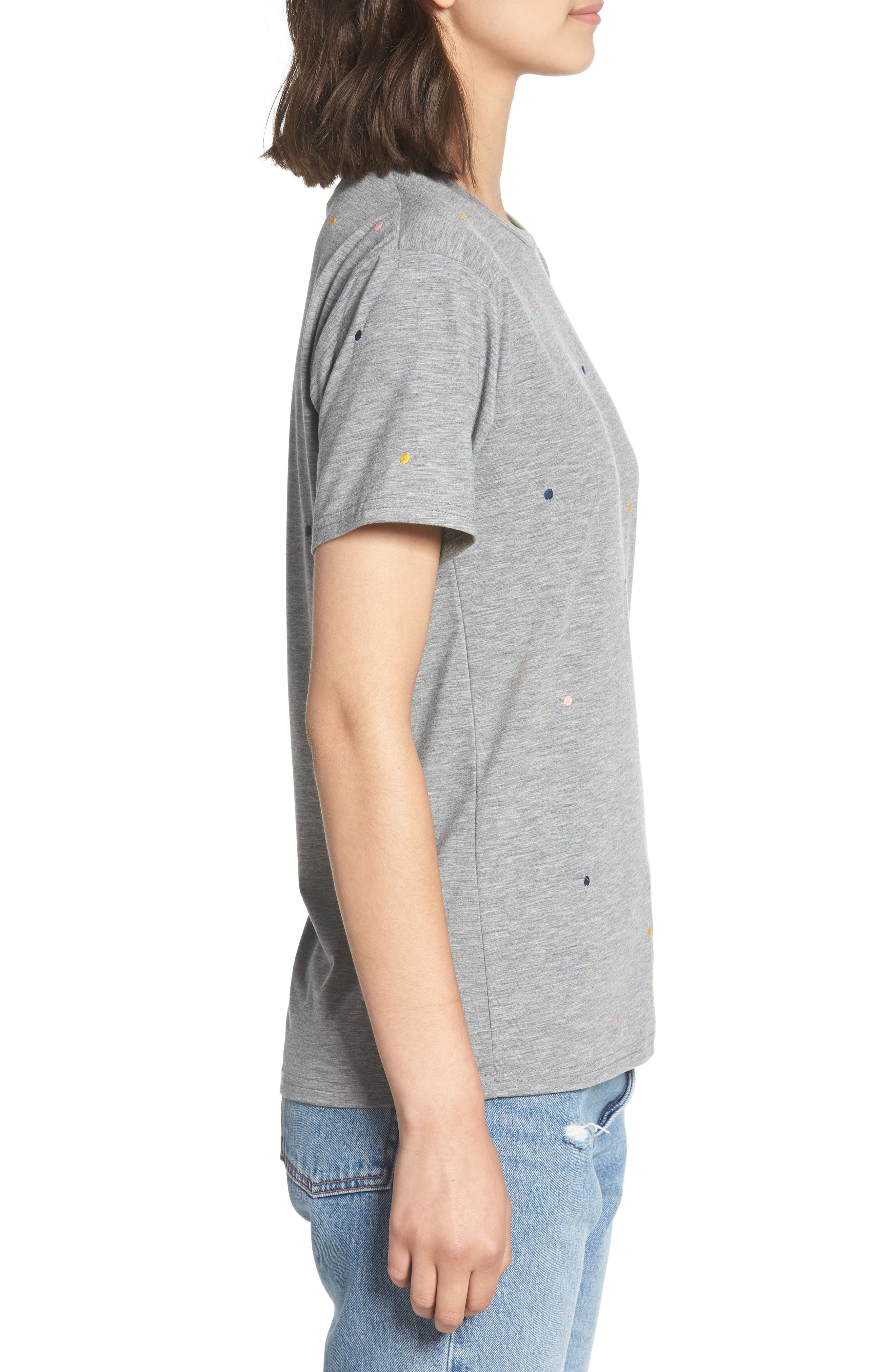 Embroidered Polka Dot Tee,                             Alternate thumbnail 3, color,                             Grey