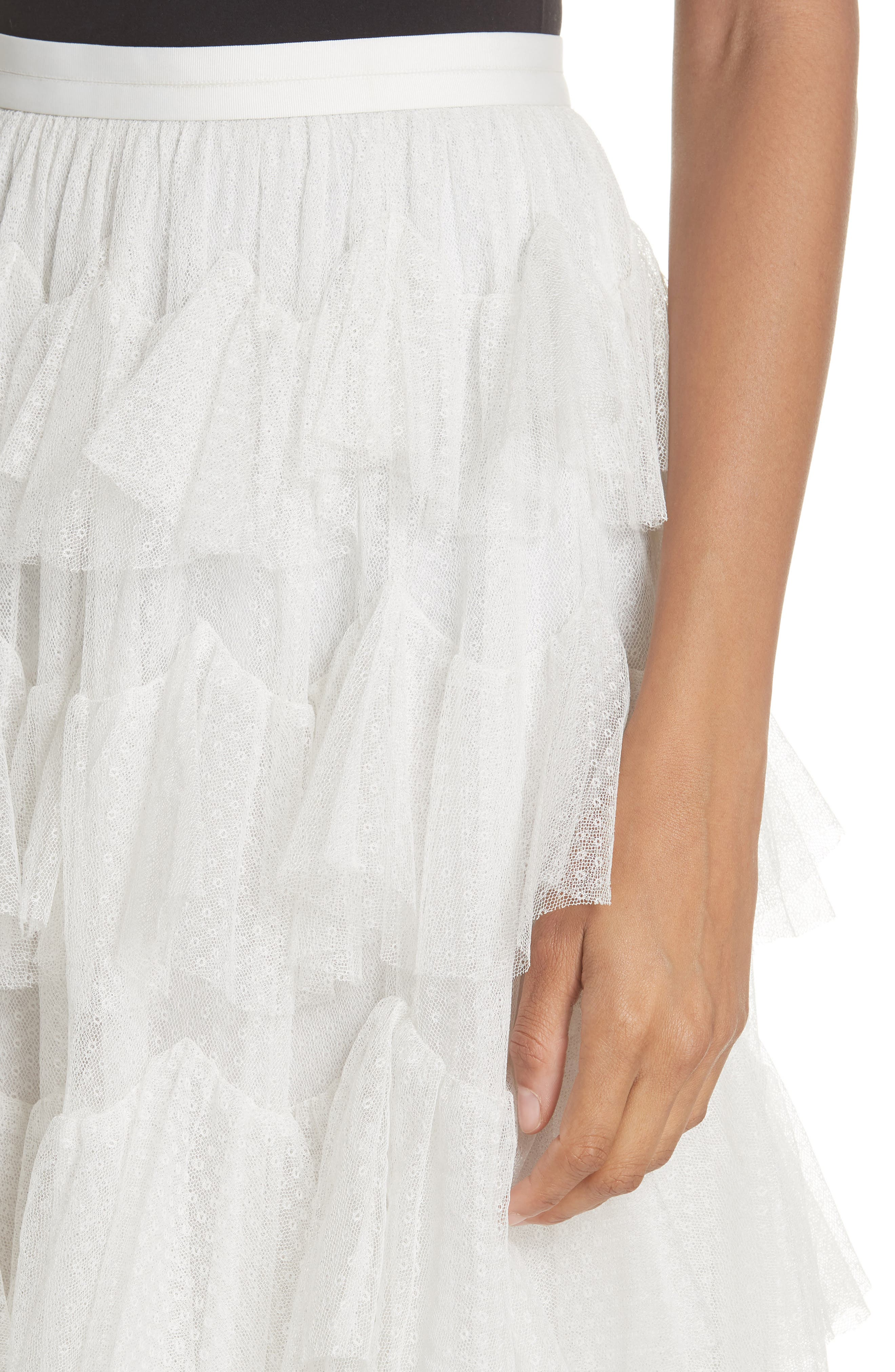 Tiered Tulle Skirt,                             Alternate thumbnail 4, color,                             Pearl