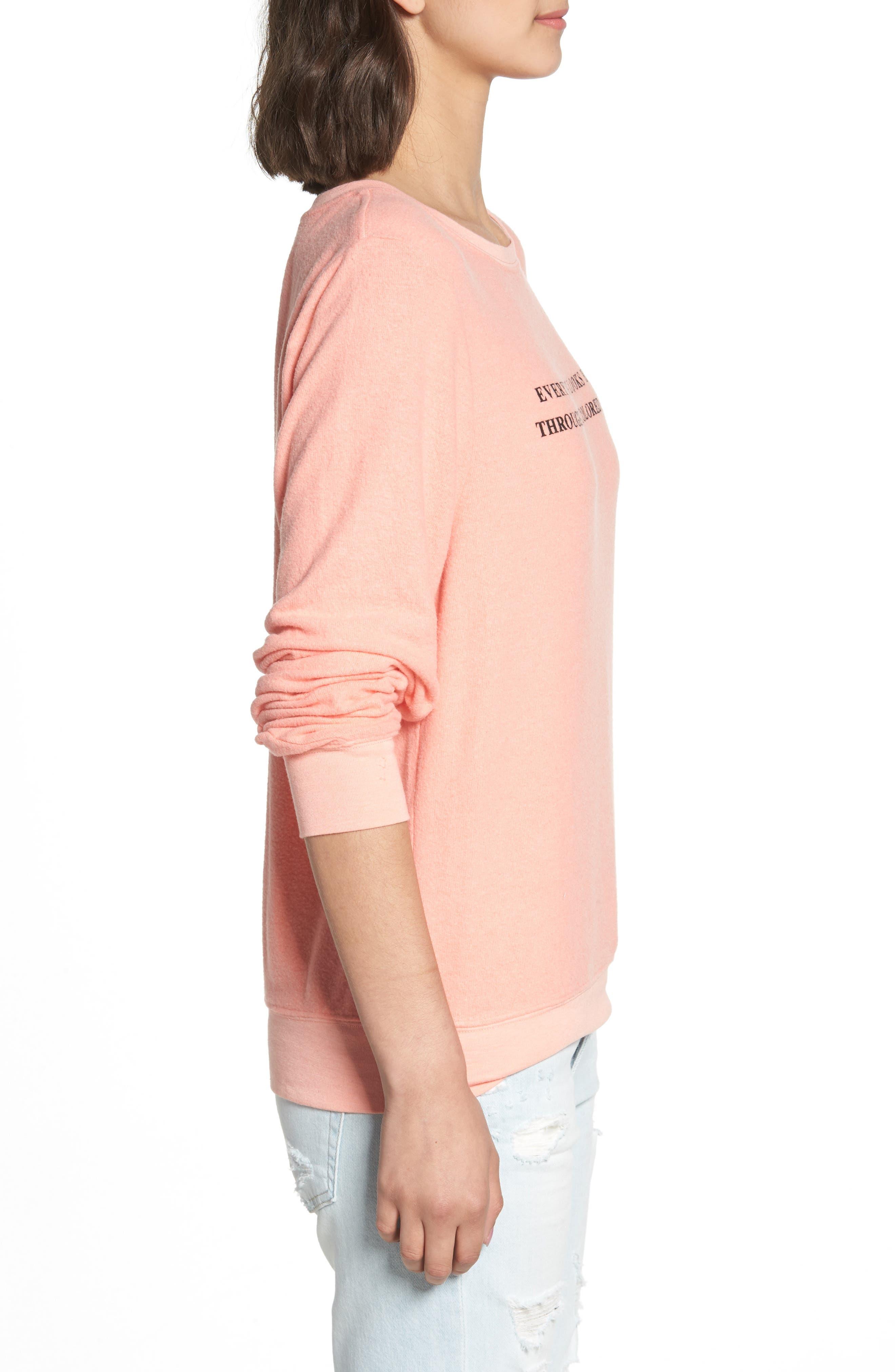 Rosé Glasses Beach Sweatshirt,                             Alternate thumbnail 3, color,                             Coral