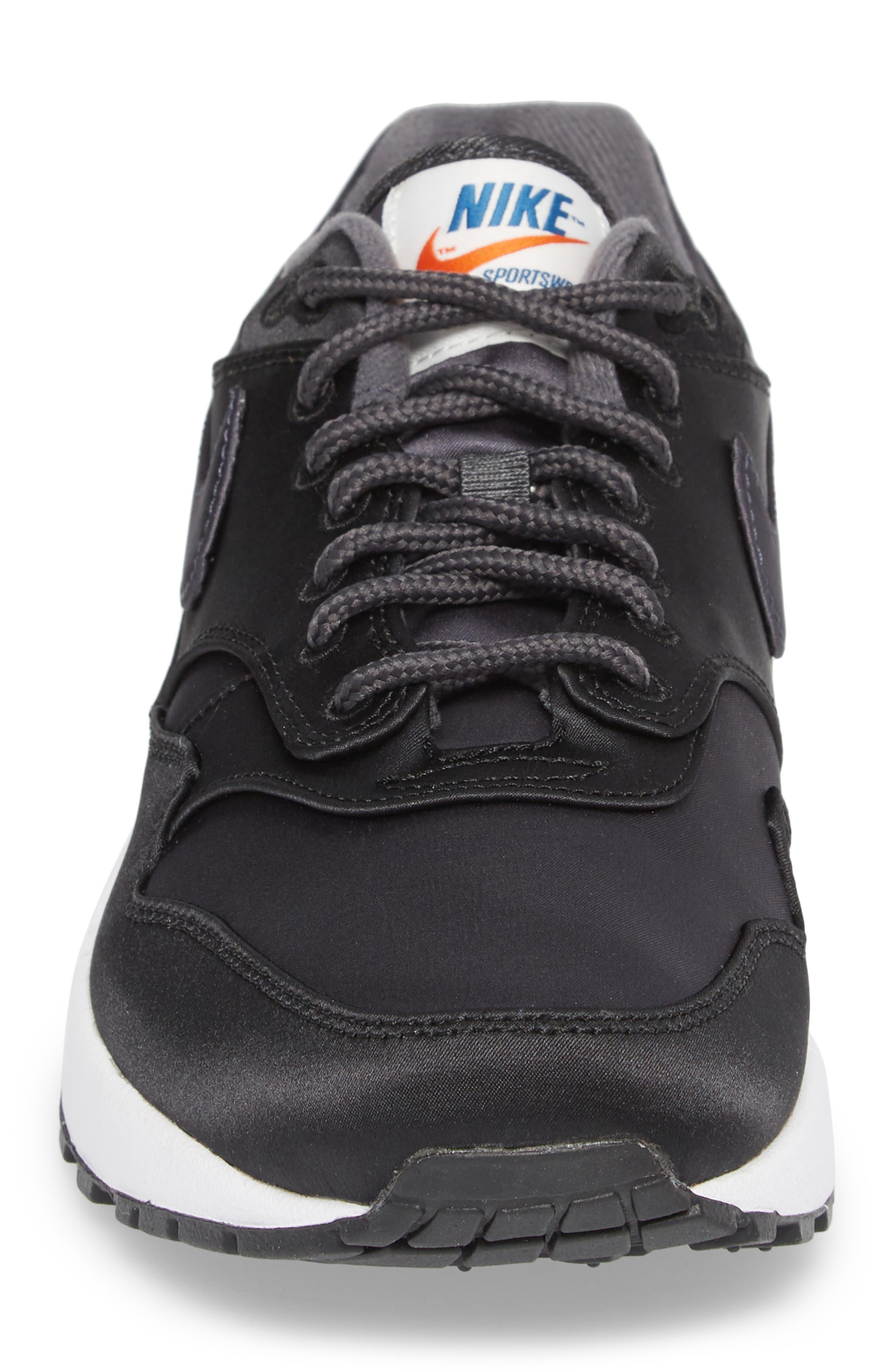Air Max 1 SE Sneaker,                             Alternate thumbnail 4, color,                             Black/ Anthracite/ White