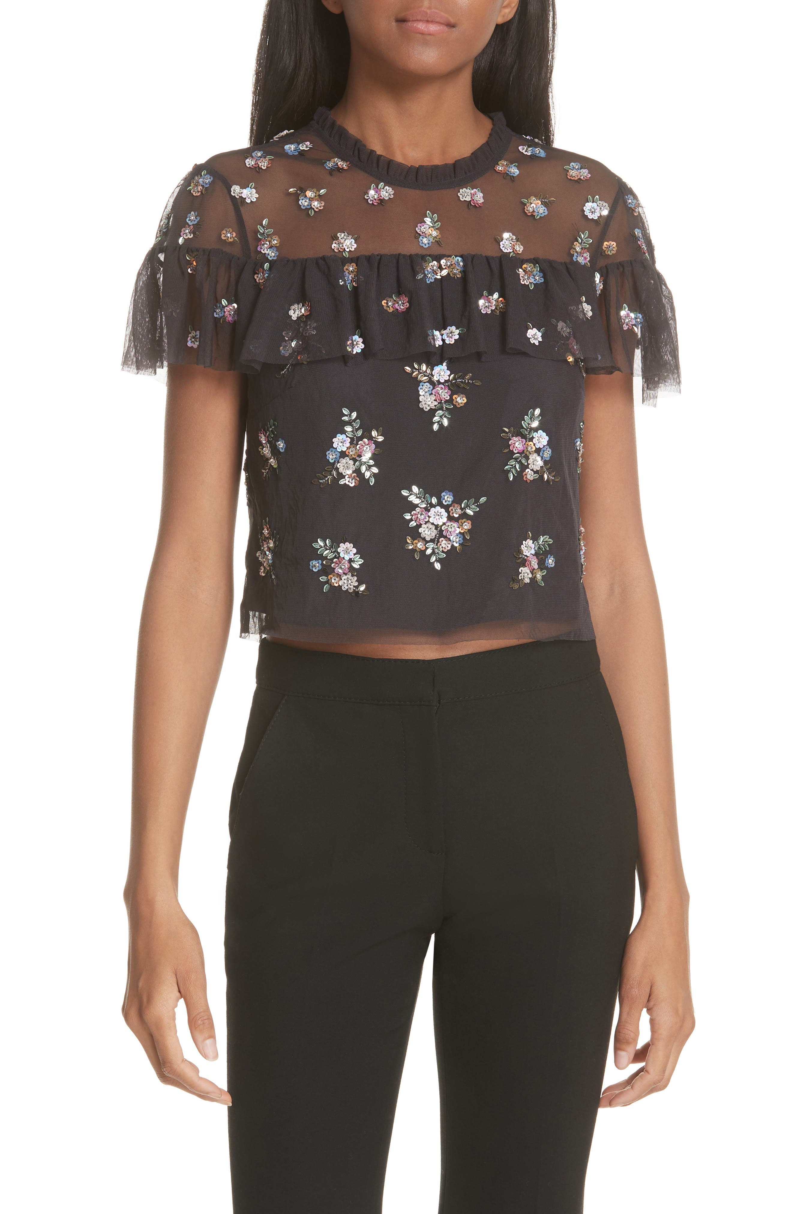 Floral Sequin Crop Top,                             Main thumbnail 1, color,                             Graphite