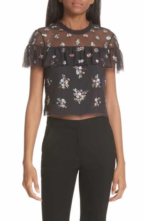 1eb1820d6bc51e Needle   Thread Floral Sequin Crop Top