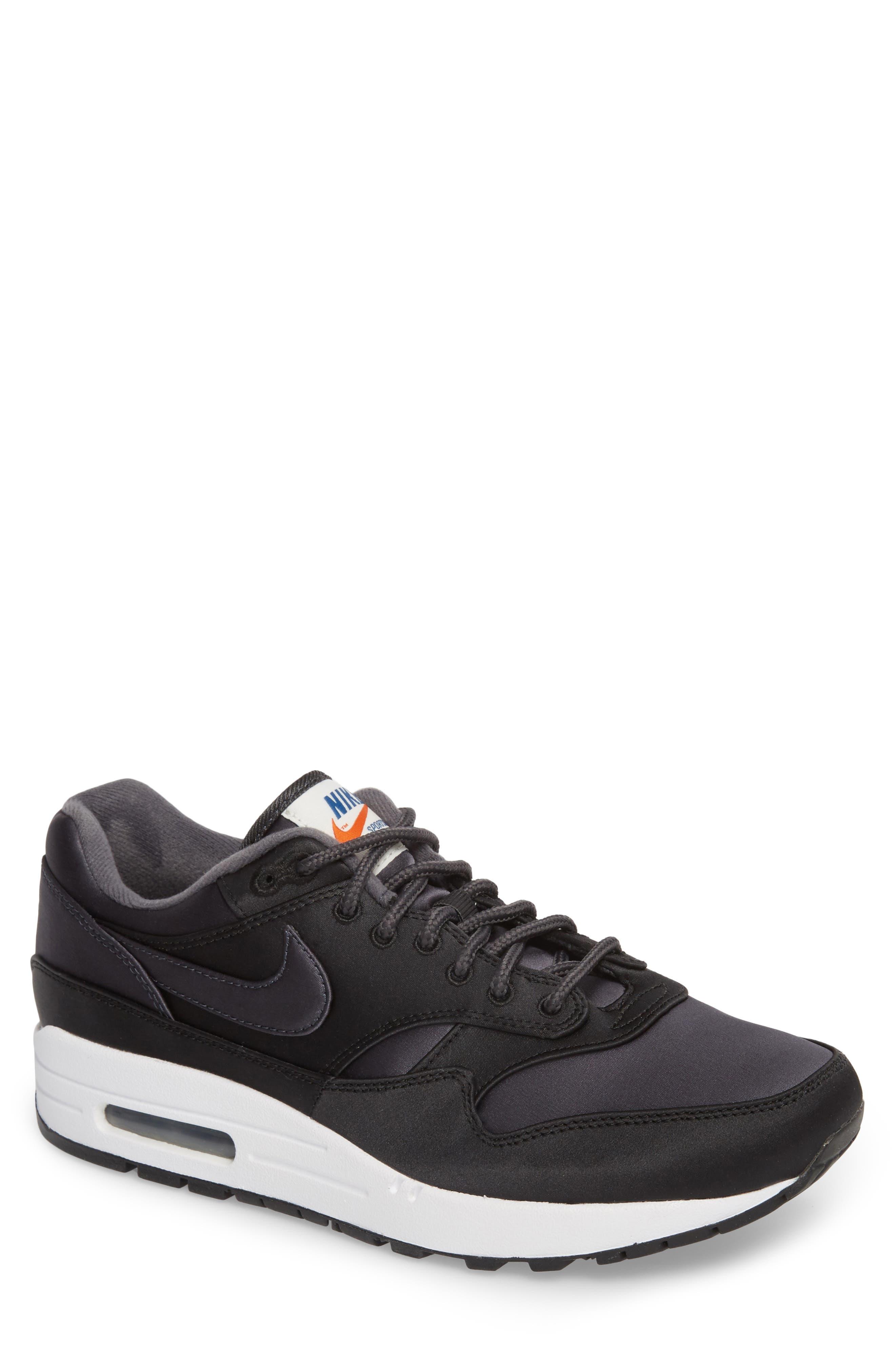 Air Max 1 SE Sneaker,                             Main thumbnail 1, color,                             Black/ Anthracite/ White