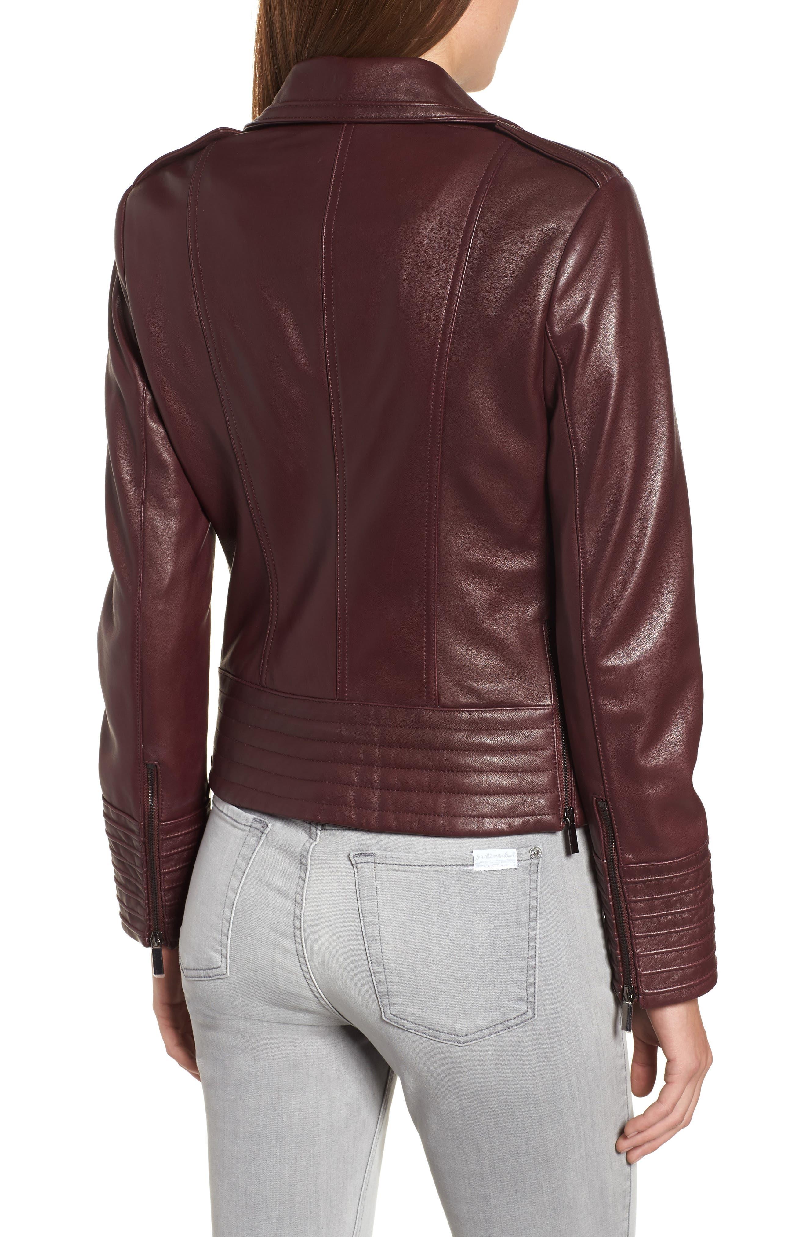 Gia Leather Biker Jacket,                             Alternate thumbnail 2, color,                             Burgundy