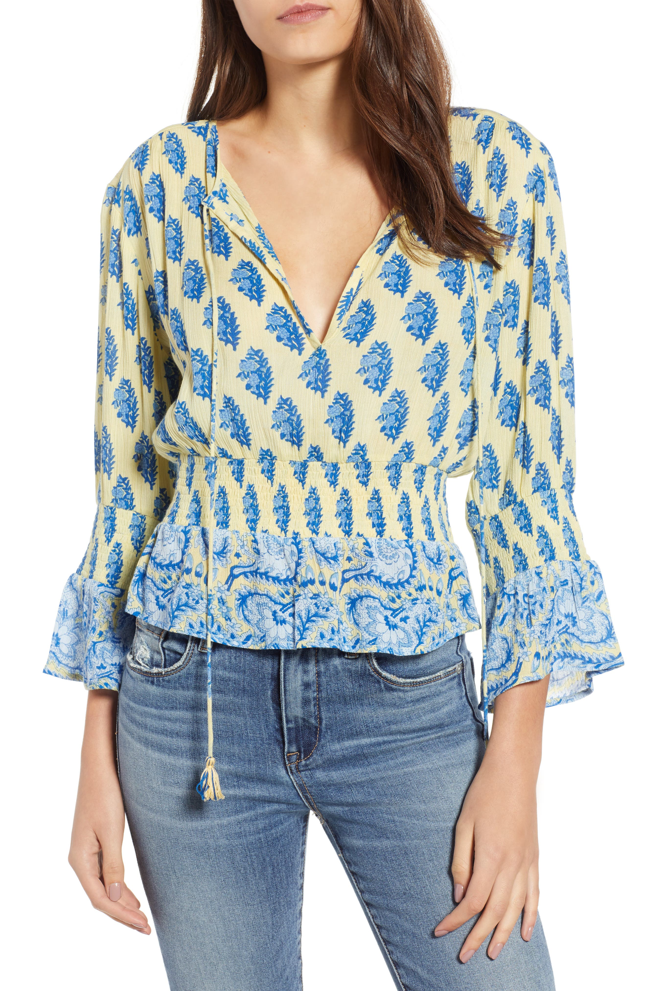 Sunlit Daze Tie Neck Blouse,                             Main thumbnail 1, color,                             Yellow