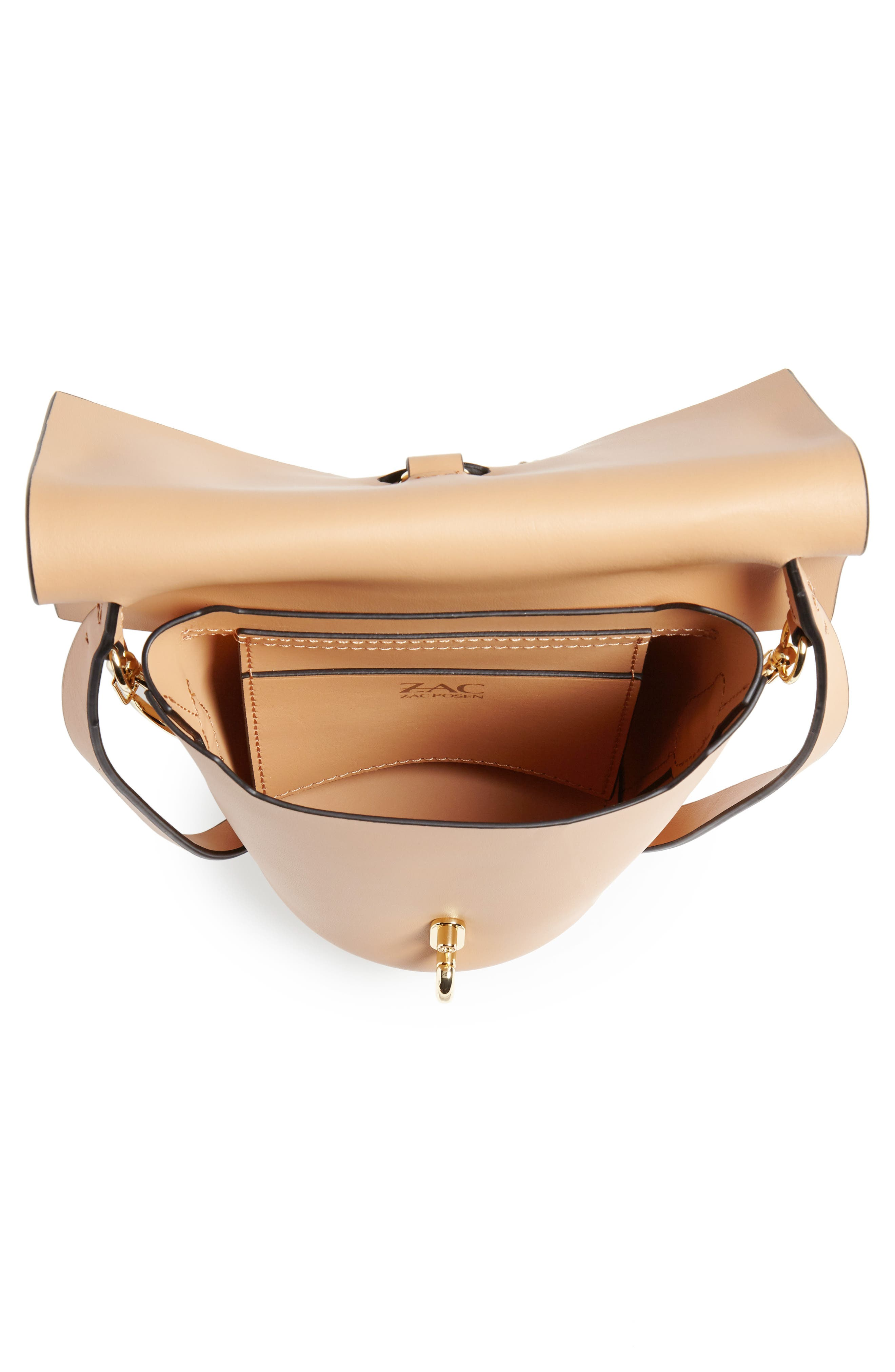 Mini Belay Calfskin Leather Crossbody Bucket Bag,                             Alternate thumbnail 4, color,                             Vachetta
