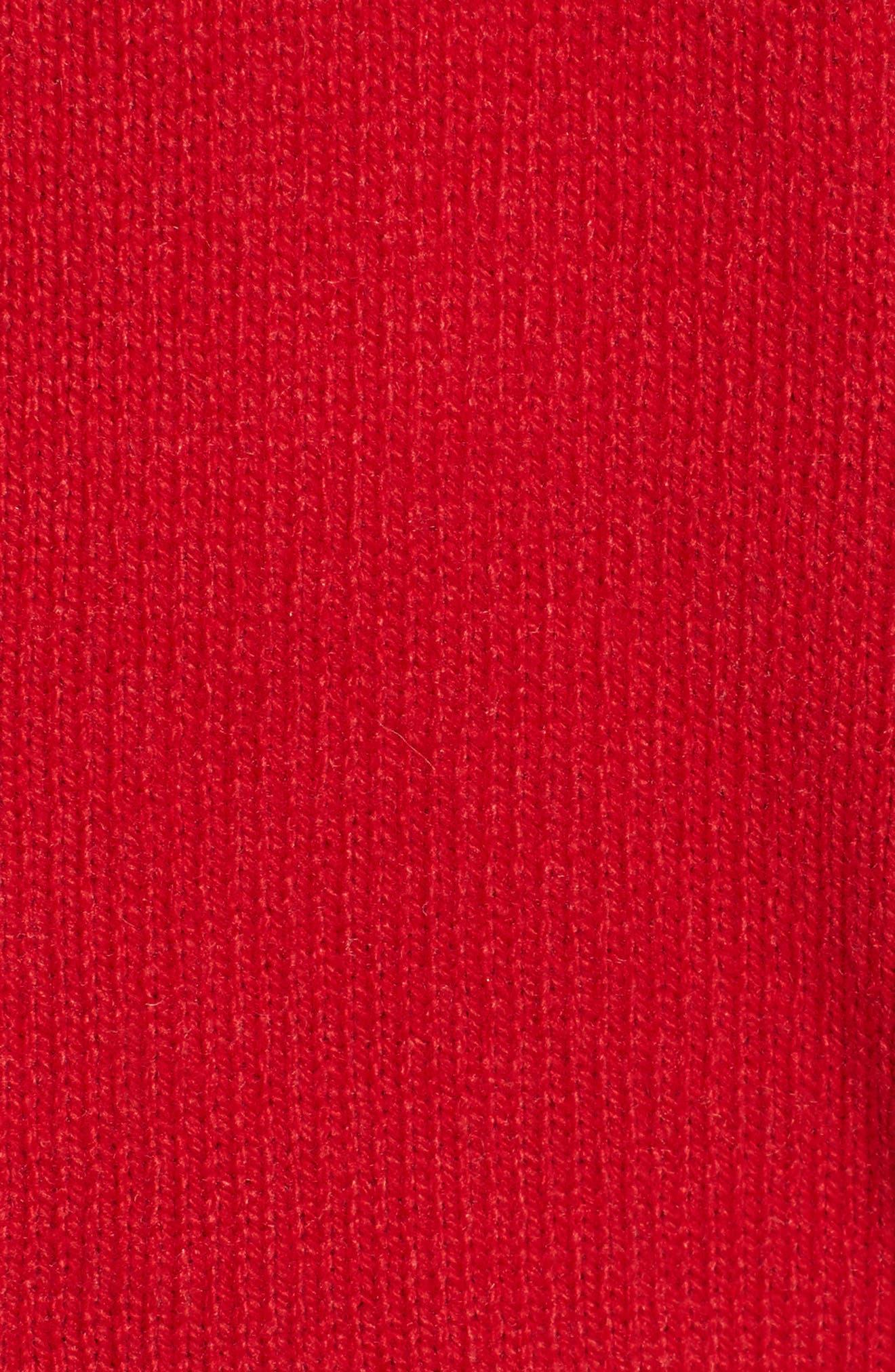 Preppy V-Neck Cardigan,                             Alternate thumbnail 5, color,                             Red- Navy Combo