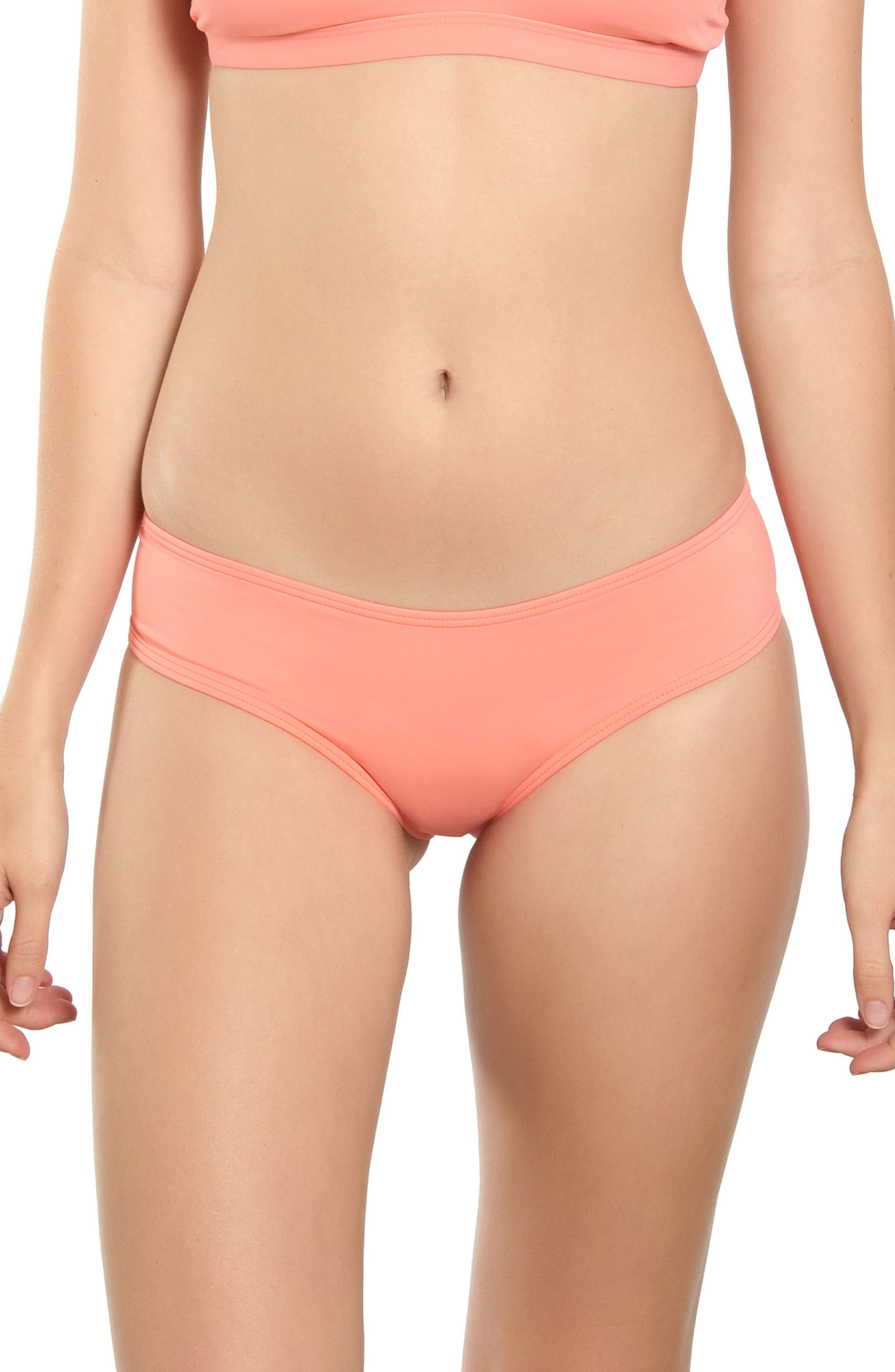 Salt Water Solids Hipster Bikini Bottoms,                         Main,                         color, Mai Tai