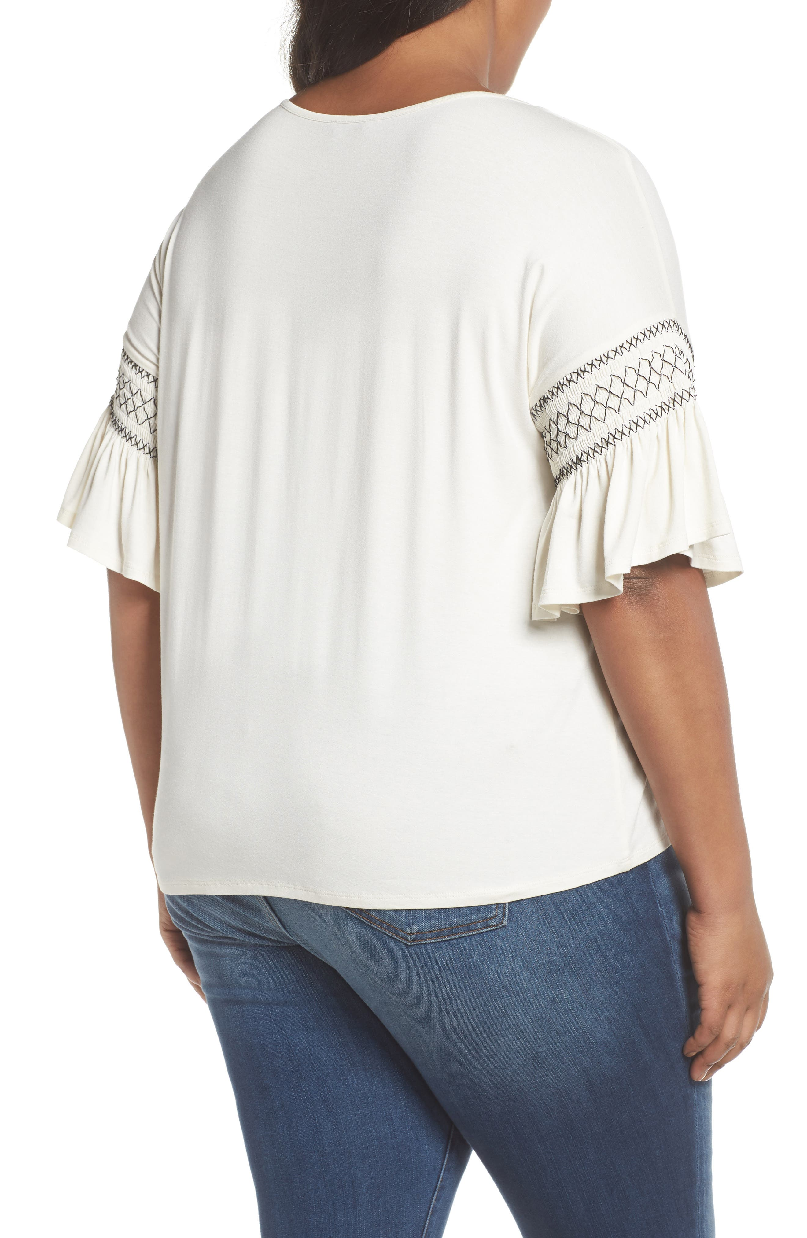 Smocked Ruffle Sleeve Top,                             Alternate thumbnail 2, color,                             Antique White