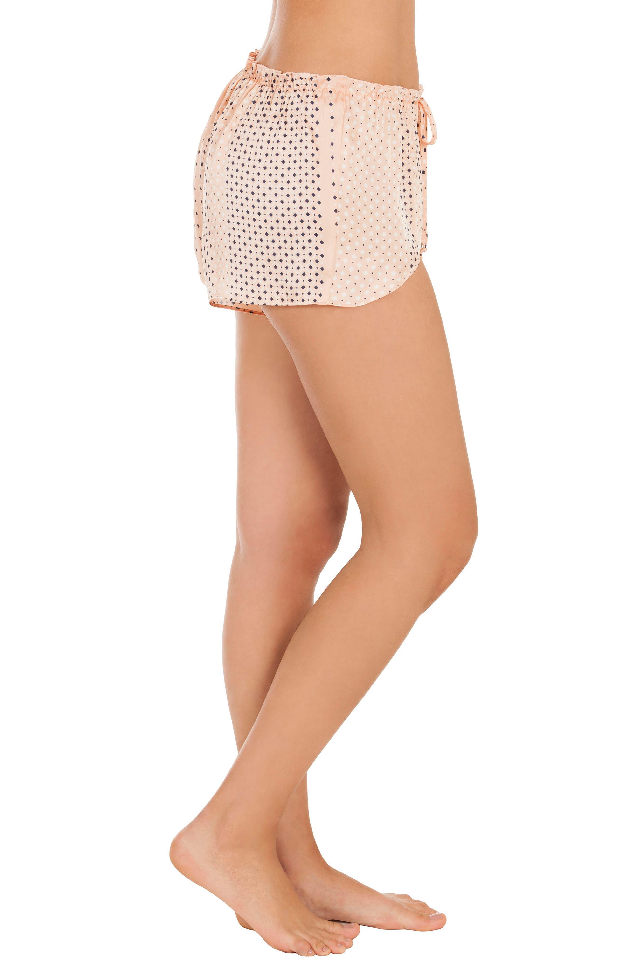 Stripe Pajama Shorts,                             Alternate thumbnail 3, color,                             Coral Geo