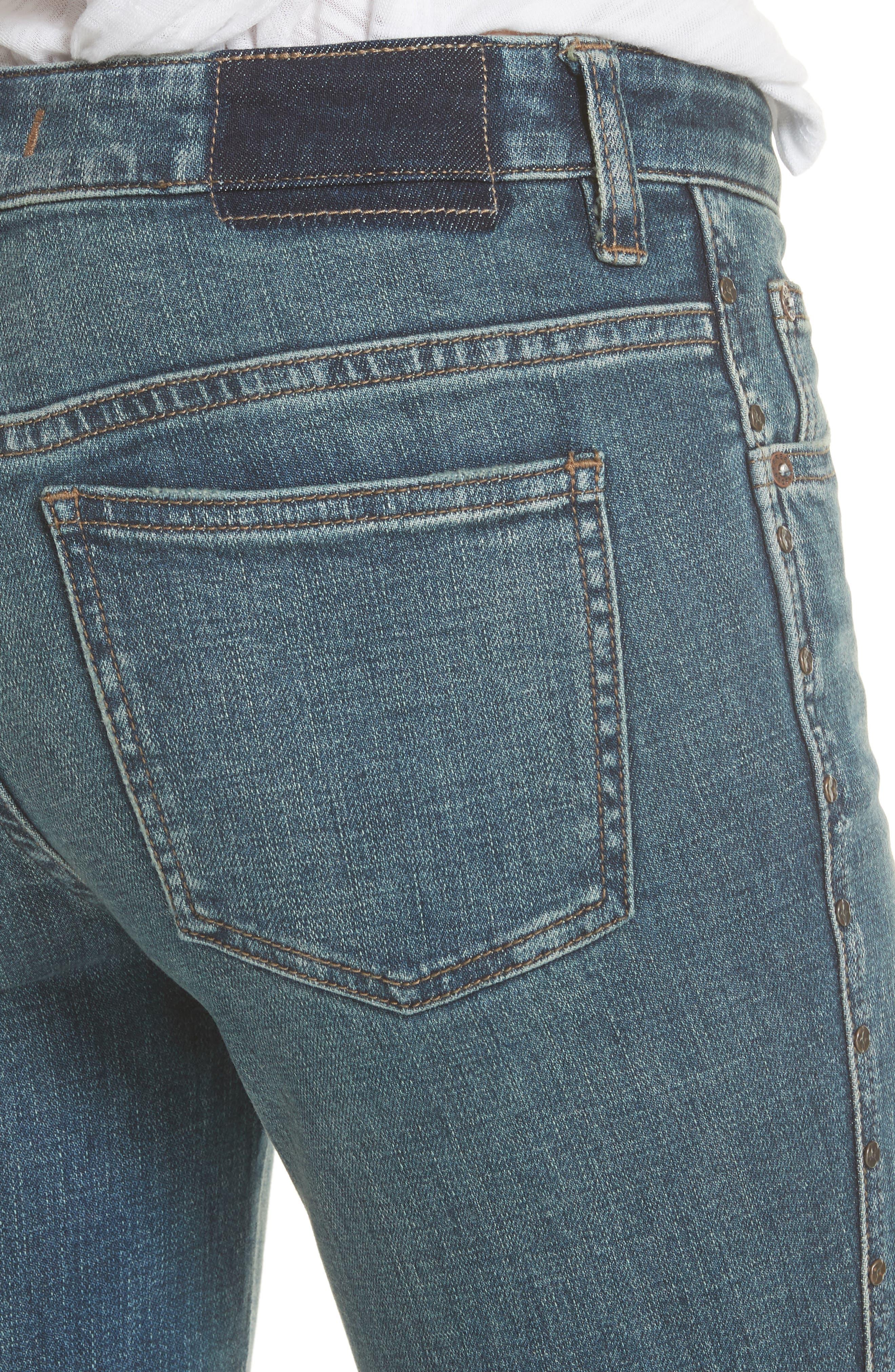 Studded Crop Flare Jeans,                             Alternate thumbnail 4, color,                             Dark Denim