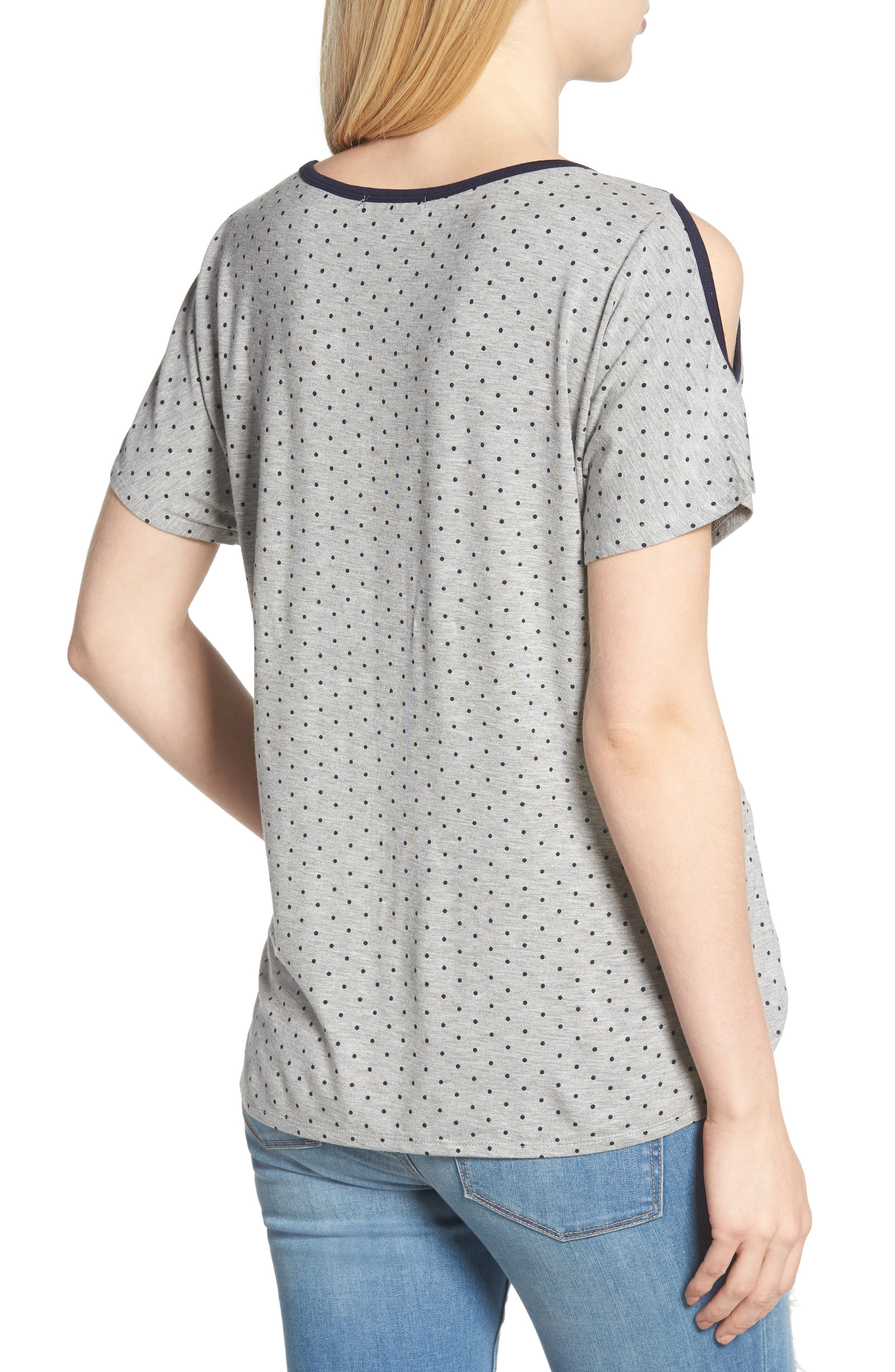 Polka Dot Twist Front Cold Shoulder Top,                             Alternate thumbnail 2, color,                             Heather Grey