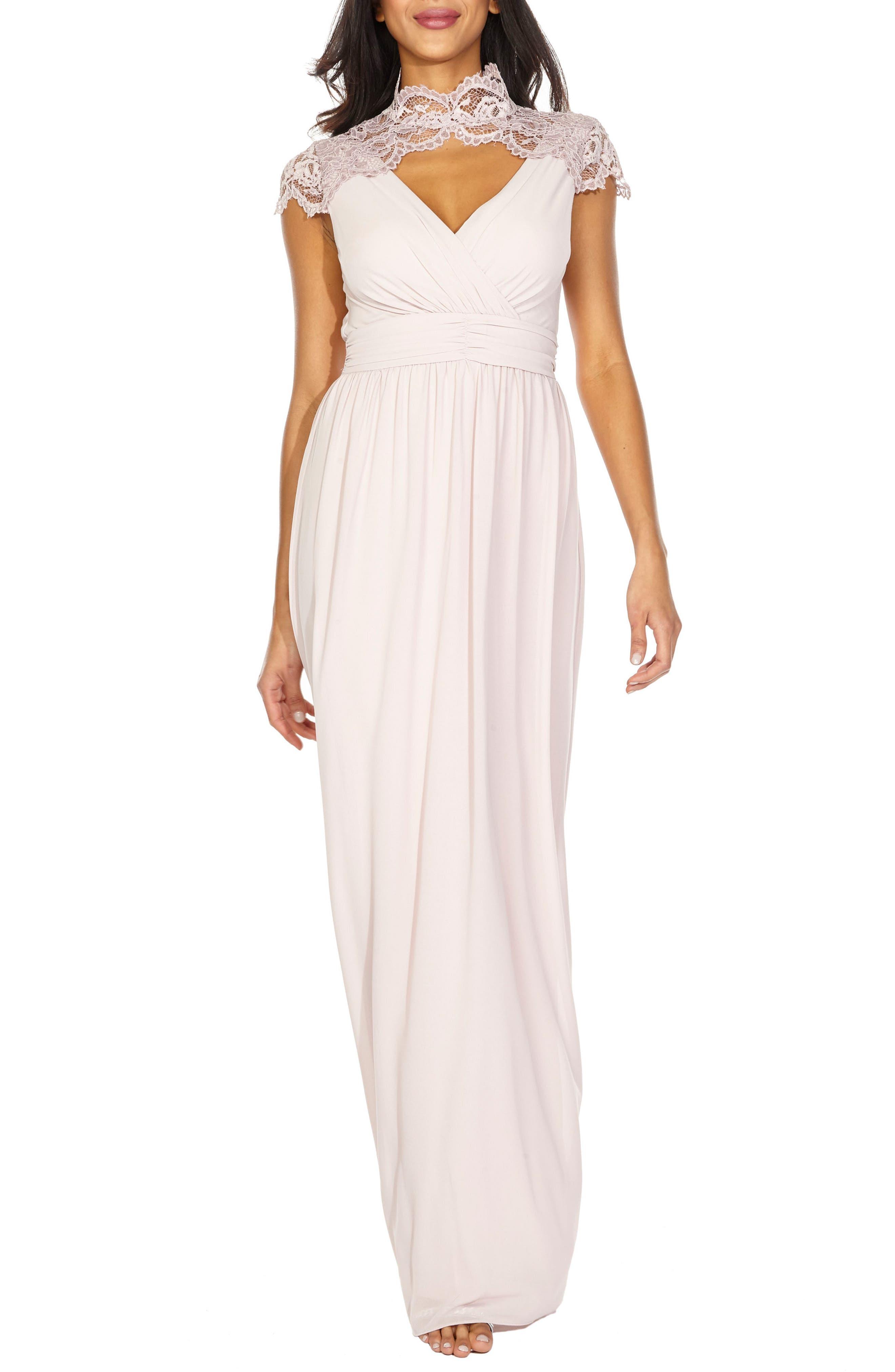 Sanna Lace Trim Chiffon Gown,                             Main thumbnail 1, color,                             New Mink