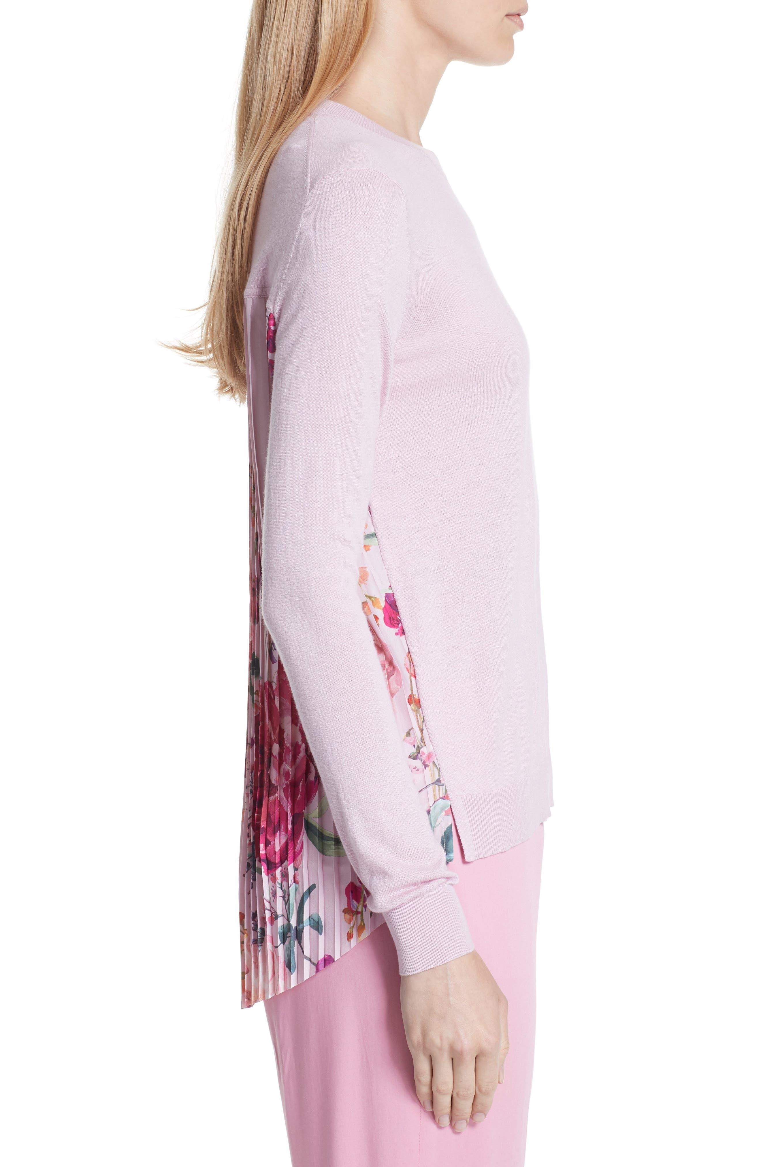 Kaleese Serenity Pleat Back Silk Cotton Sweater,                             Alternate thumbnail 3, color,                             Lilac