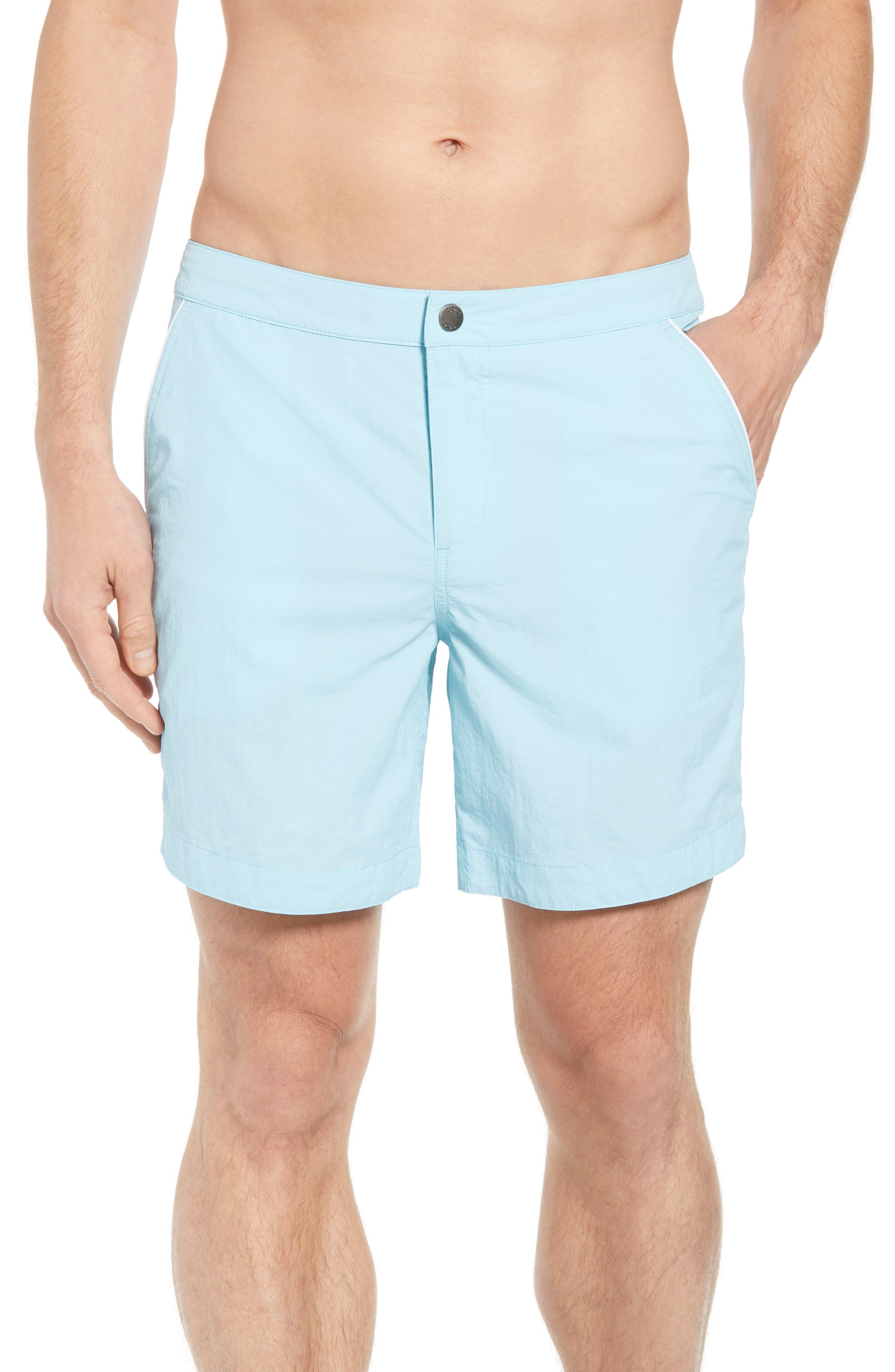 Rio Slim Fit Swim Trunks,                         Main,                         color, Aqua Blue