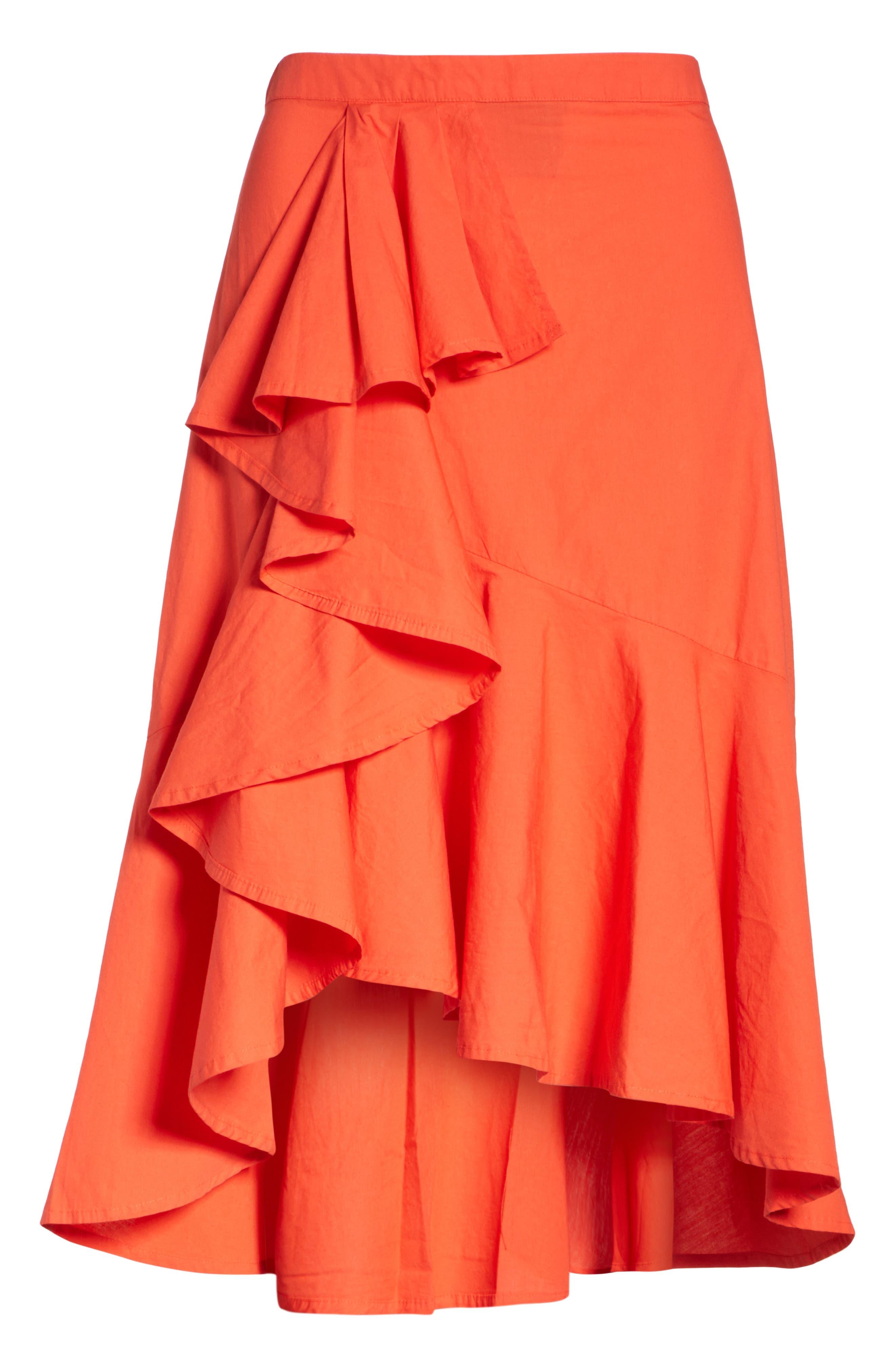 Chesmu Ruffled Cotton Skirt,                             Alternate thumbnail 6, color,                             Salsa