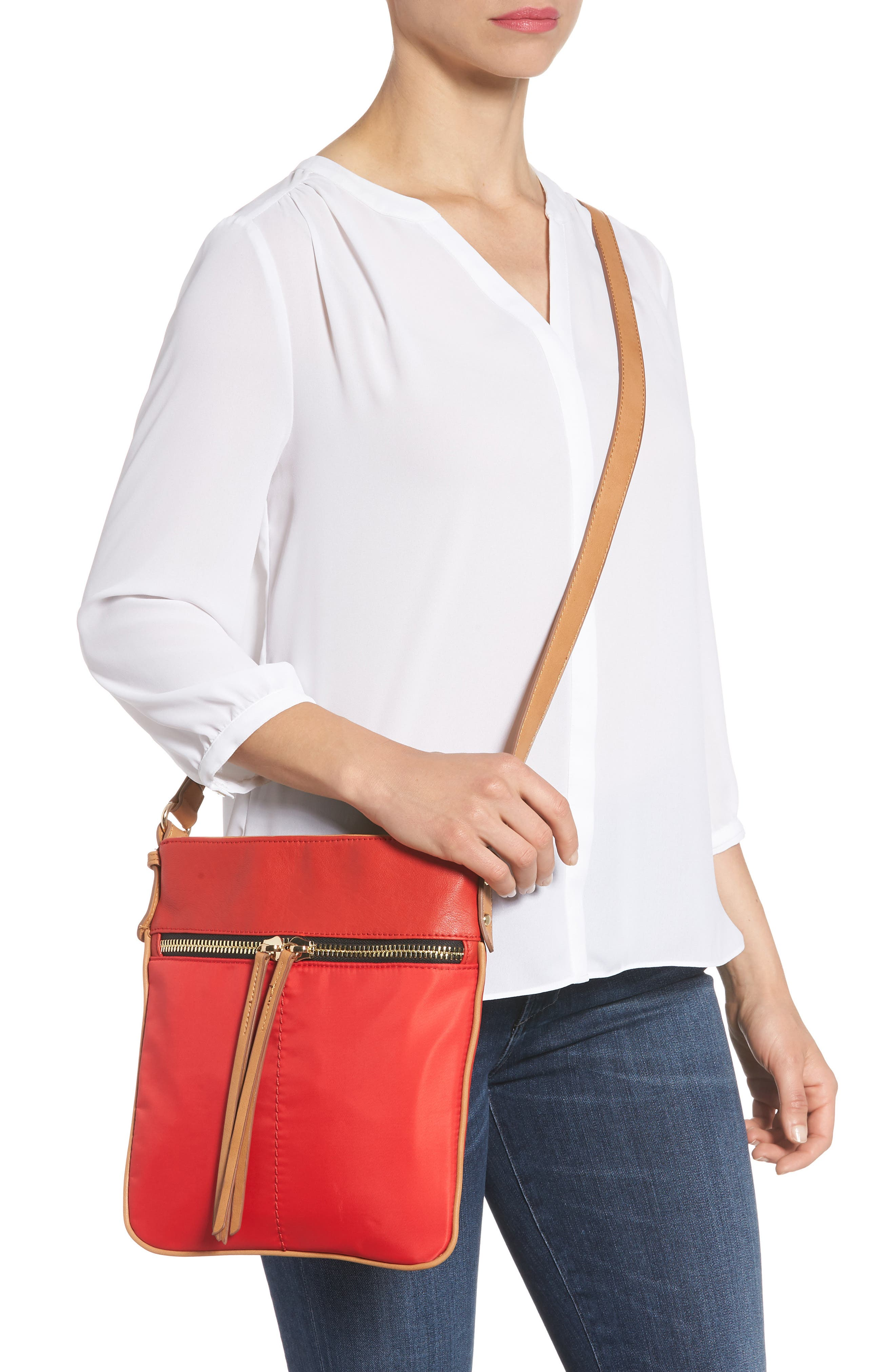Nylon & Faux Leather Crossbody Bag,                             Alternate thumbnail 2, color,                             Red