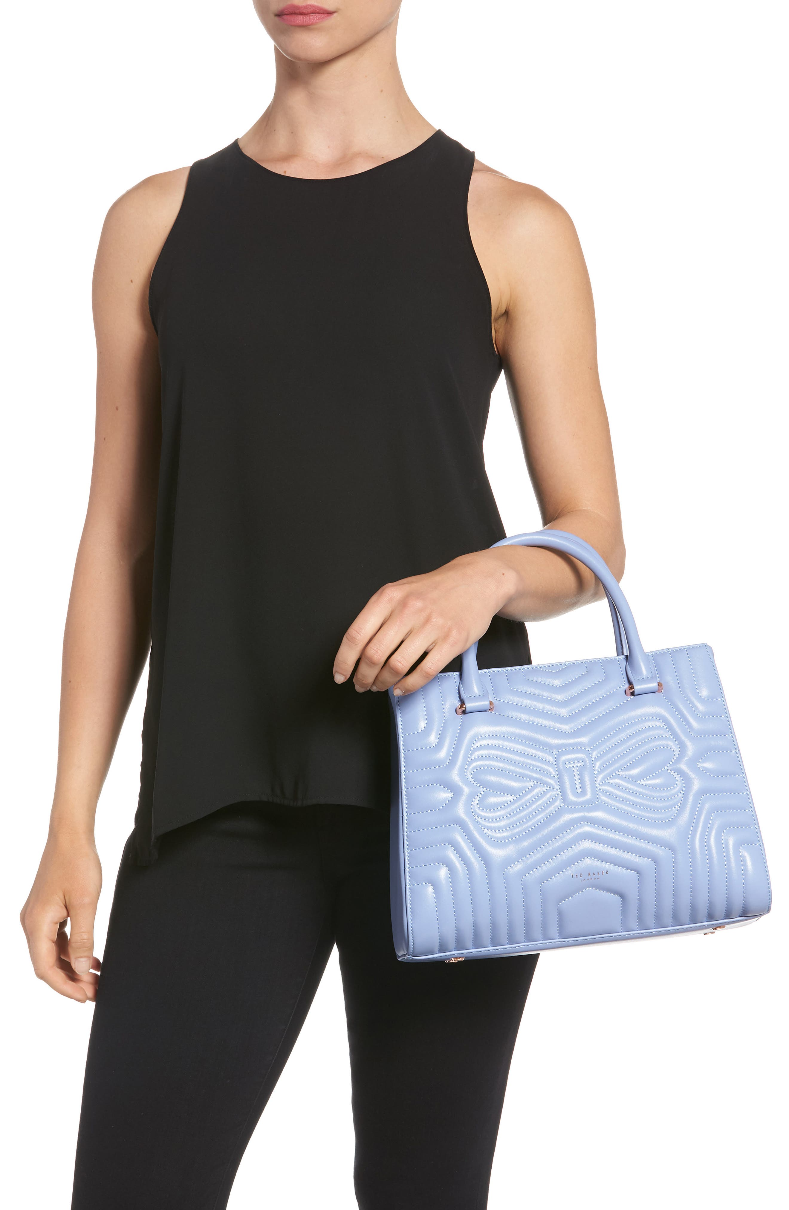 Quilted Bow Leather Tote,                             Alternate thumbnail 2, color,                             Blue