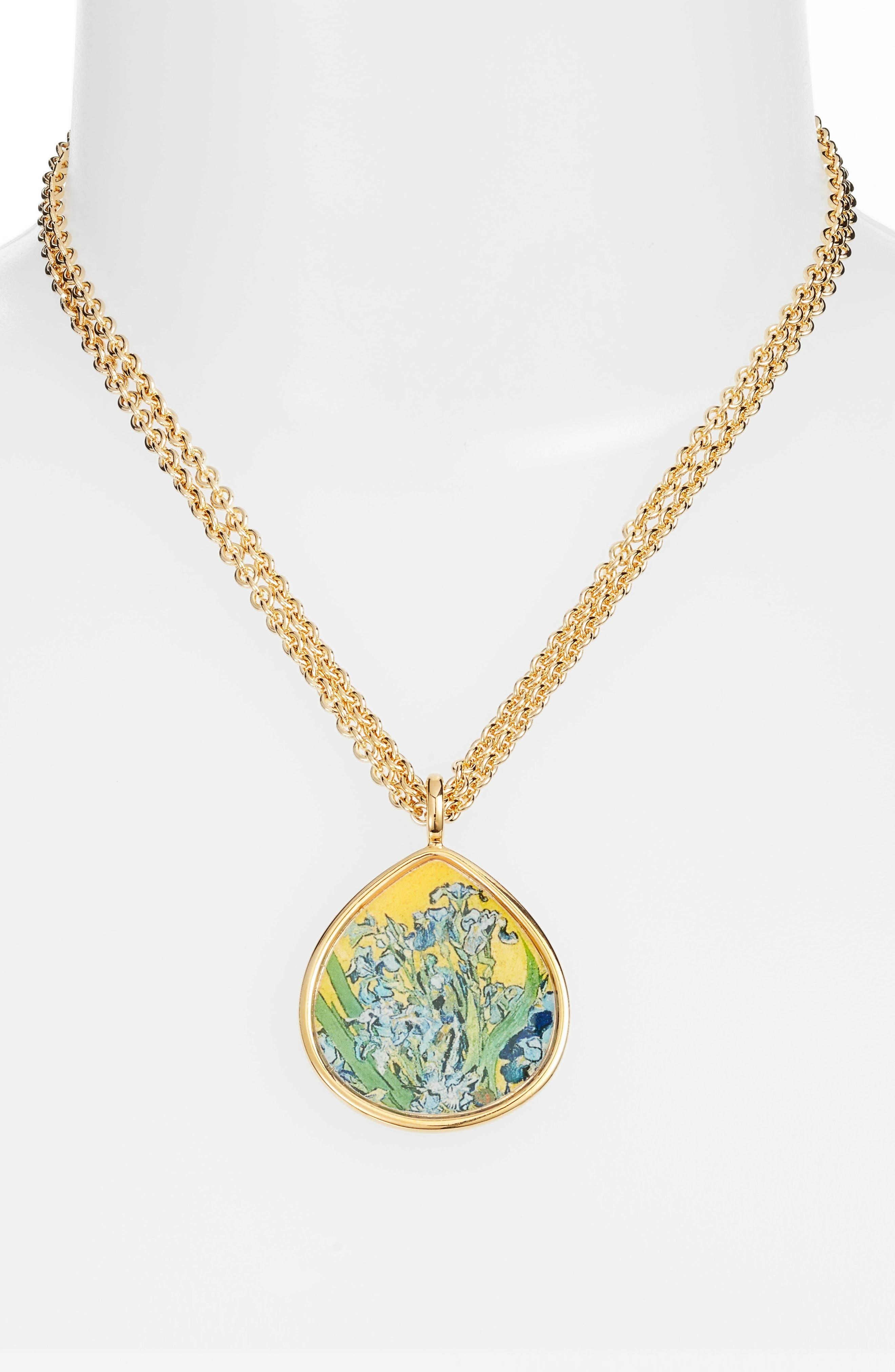 Irises Teardrop Pendant Necklace,                             Alternate thumbnail 2, color,                             Multi