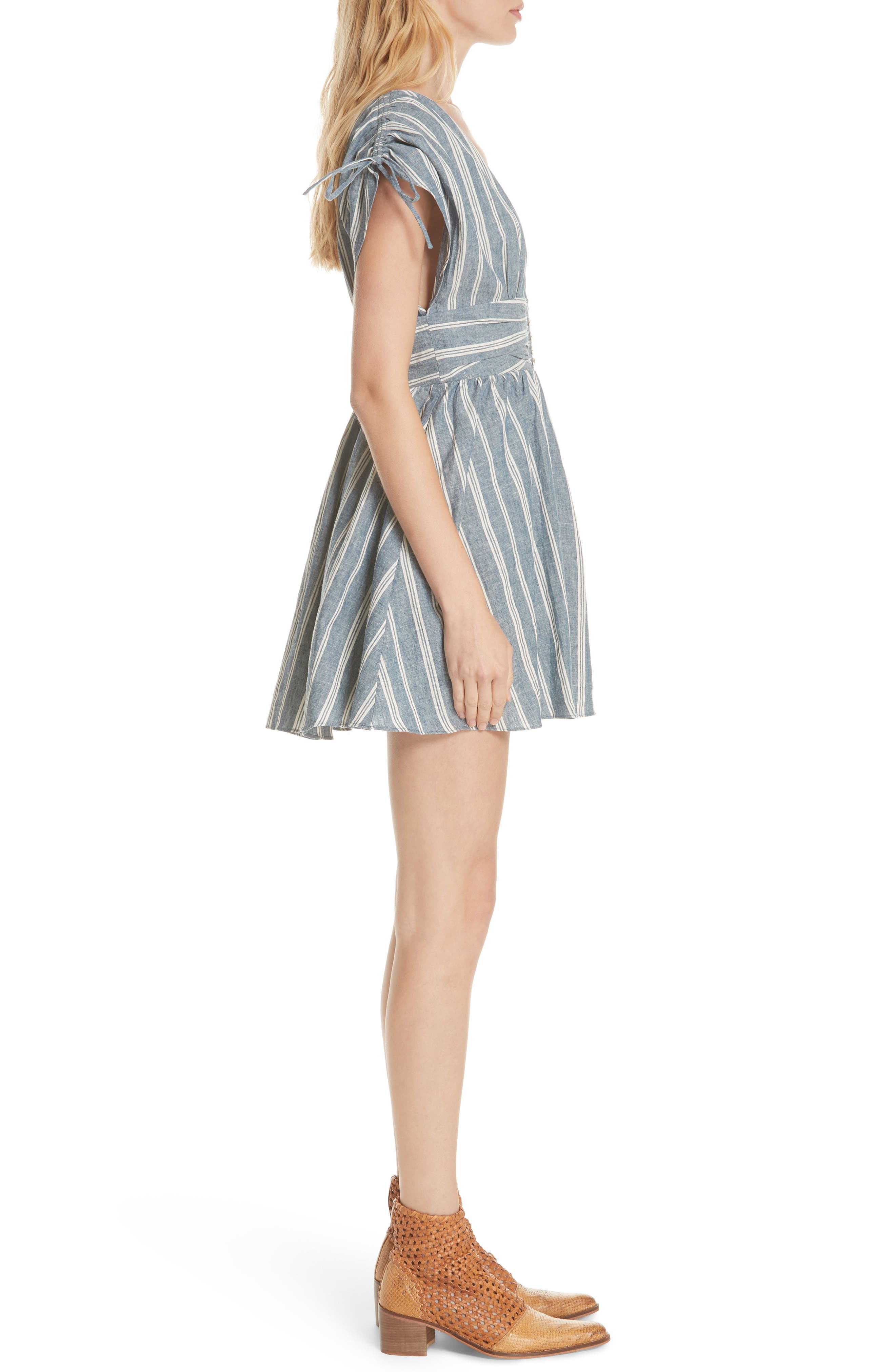 Roll the Dice Stripe Dress,                             Alternate thumbnail 3, color,                             Blue