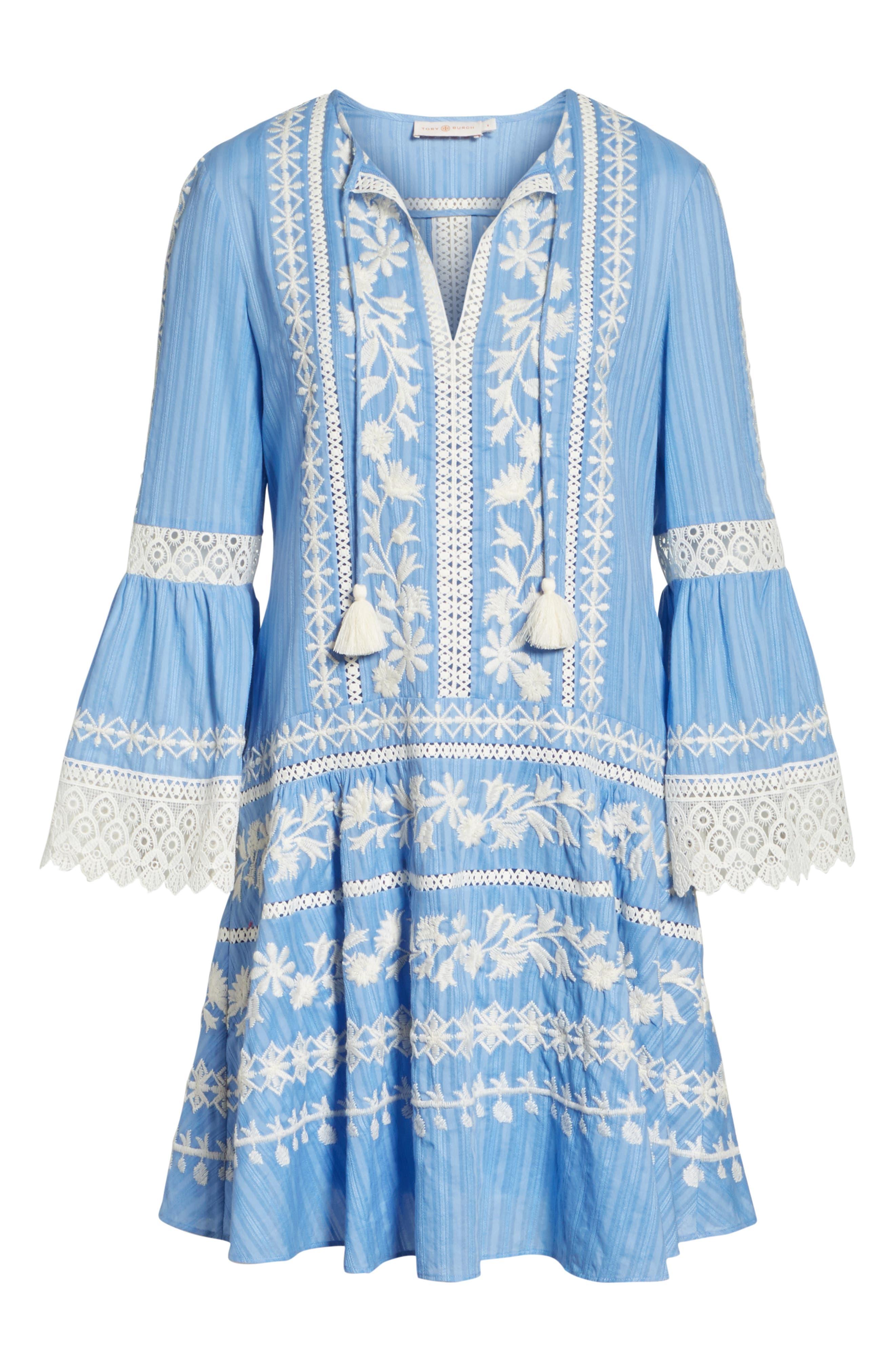 Gabriella Cotton Shift Dress,                             Alternate thumbnail 6, color,                             Blue Dusk
