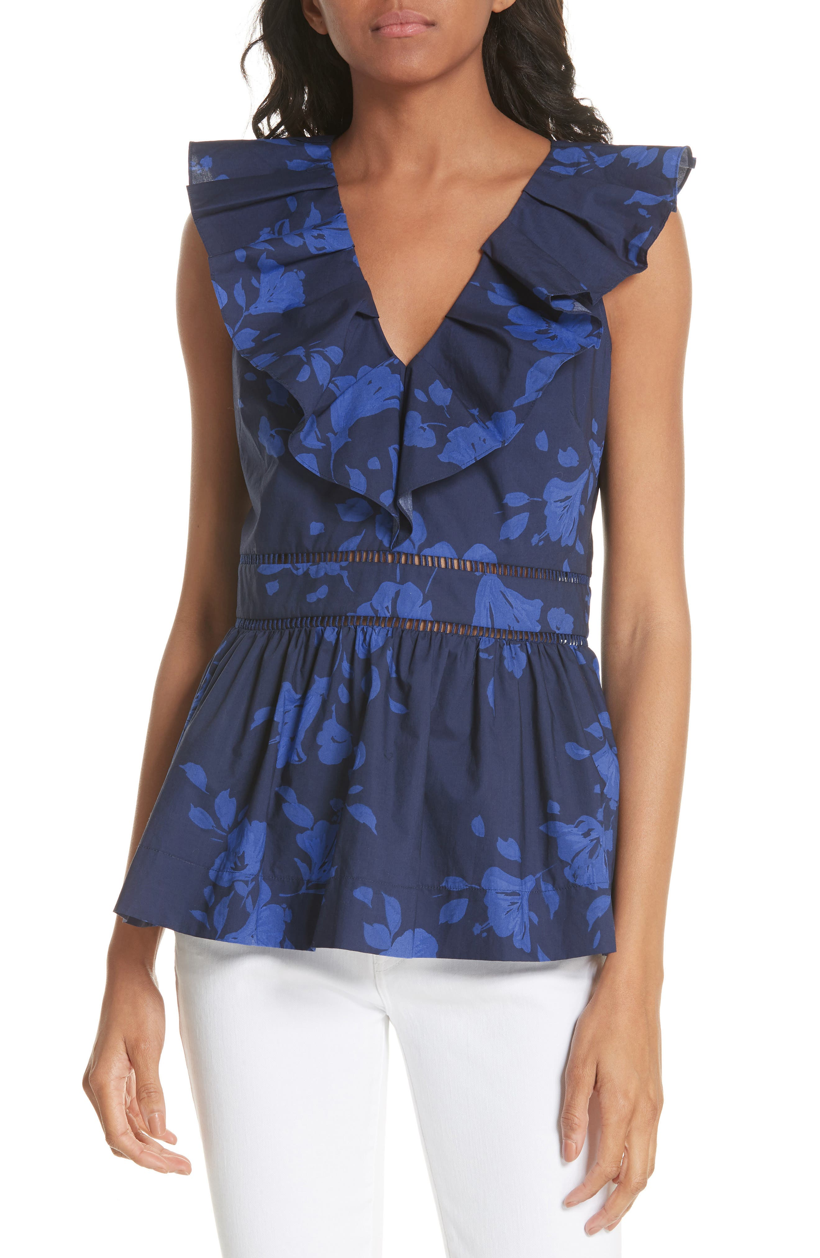 kate spade new york hibiscus ruffle neck cotton blouse