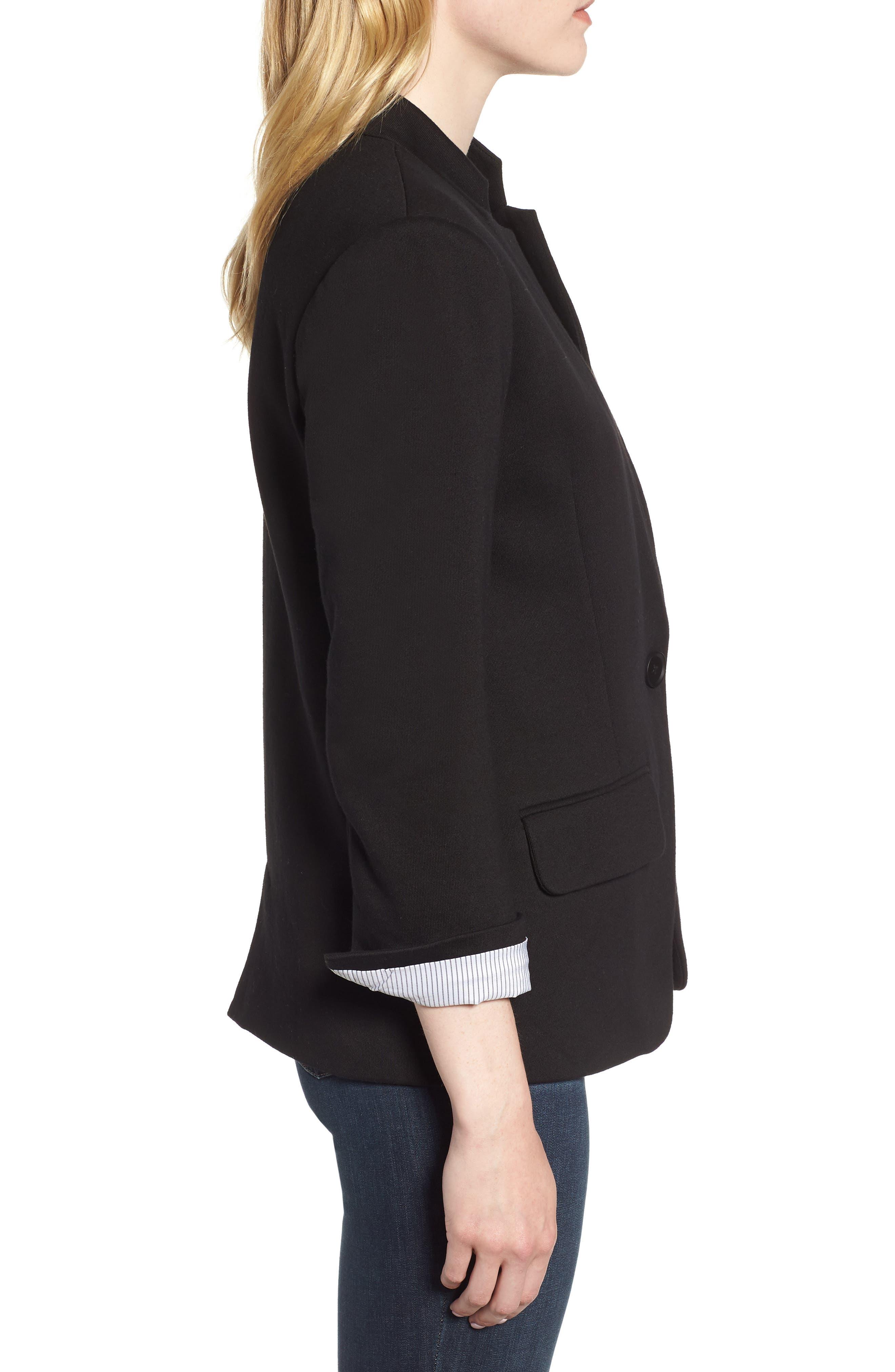 Cotton Blend Knit Blazer,                             Alternate thumbnail 3, color,                             Black