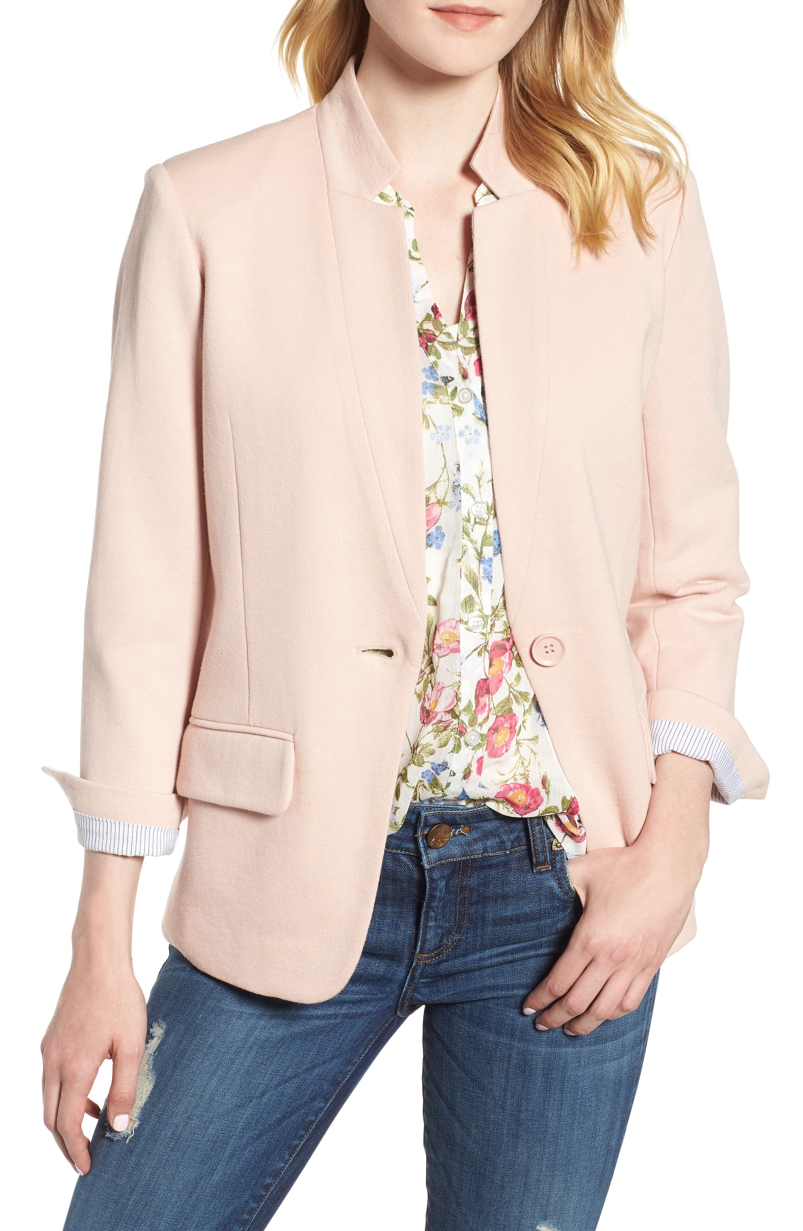 Cotton Blend Knit Blazer,                             Main thumbnail 1, color,                             Pink Smoke