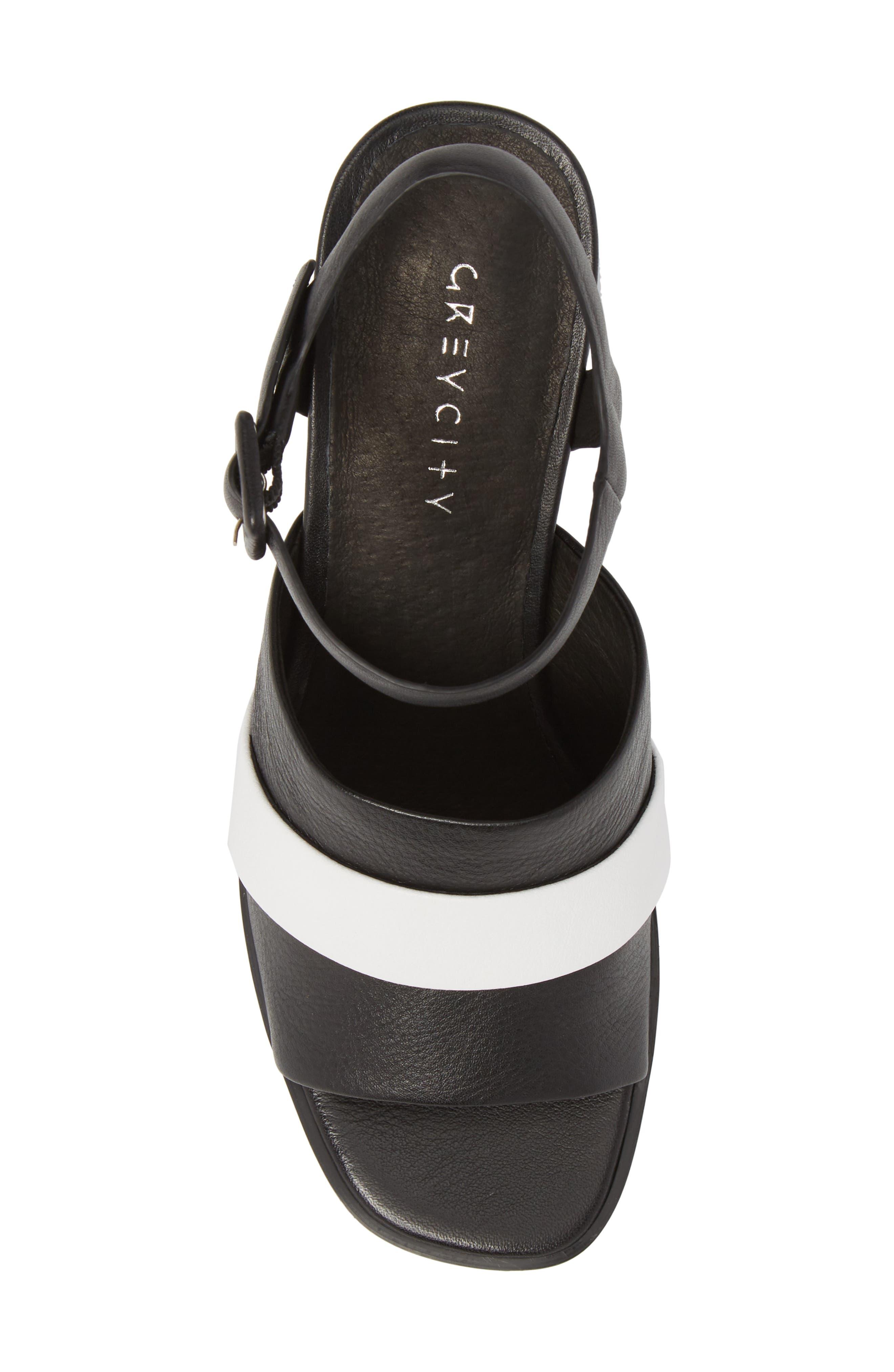 Ren Sandal,                             Alternate thumbnail 5, color,                             Black/ White