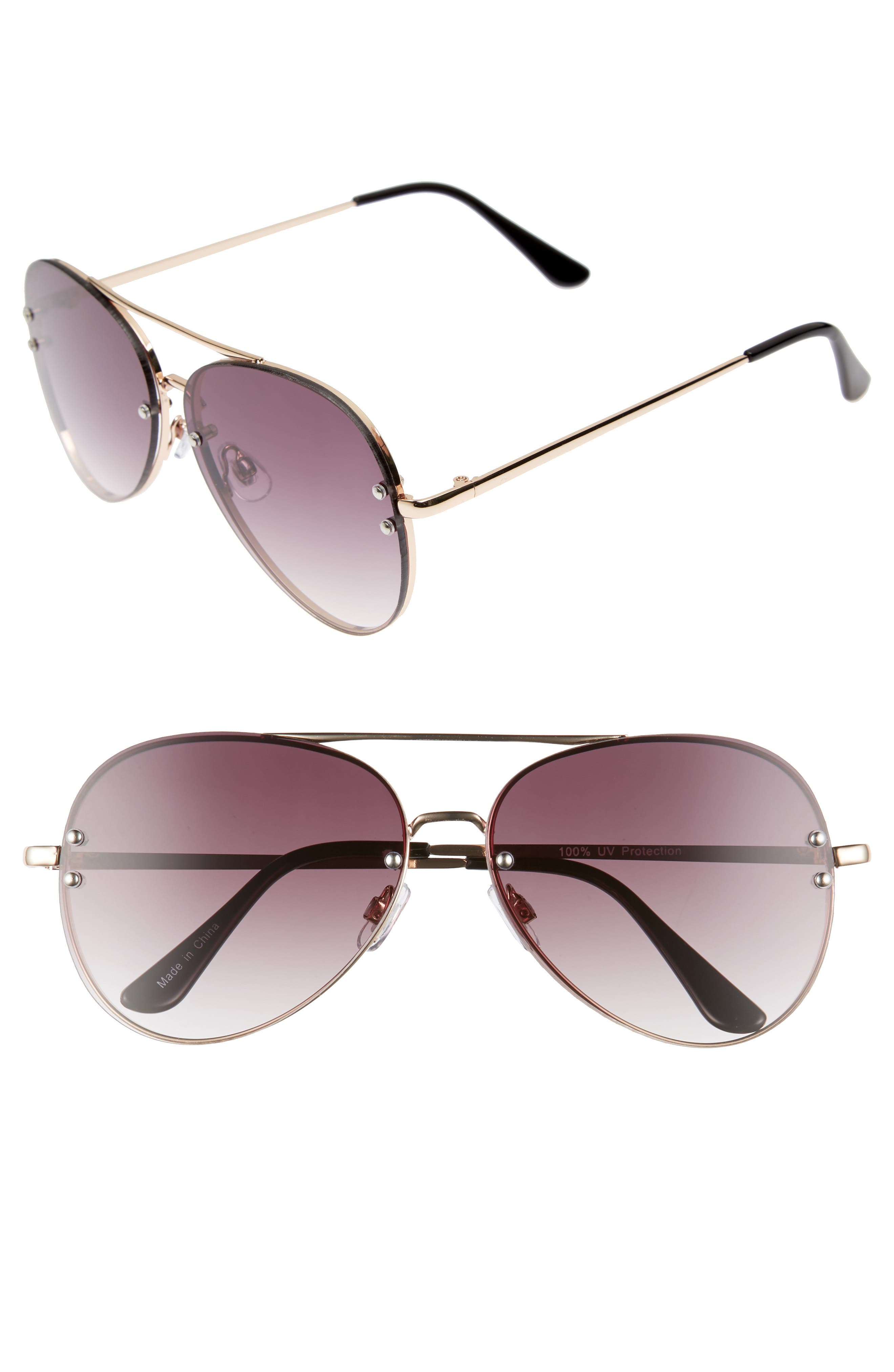 BP. 60mm Oversize Mirrored Aviator Sunglasses