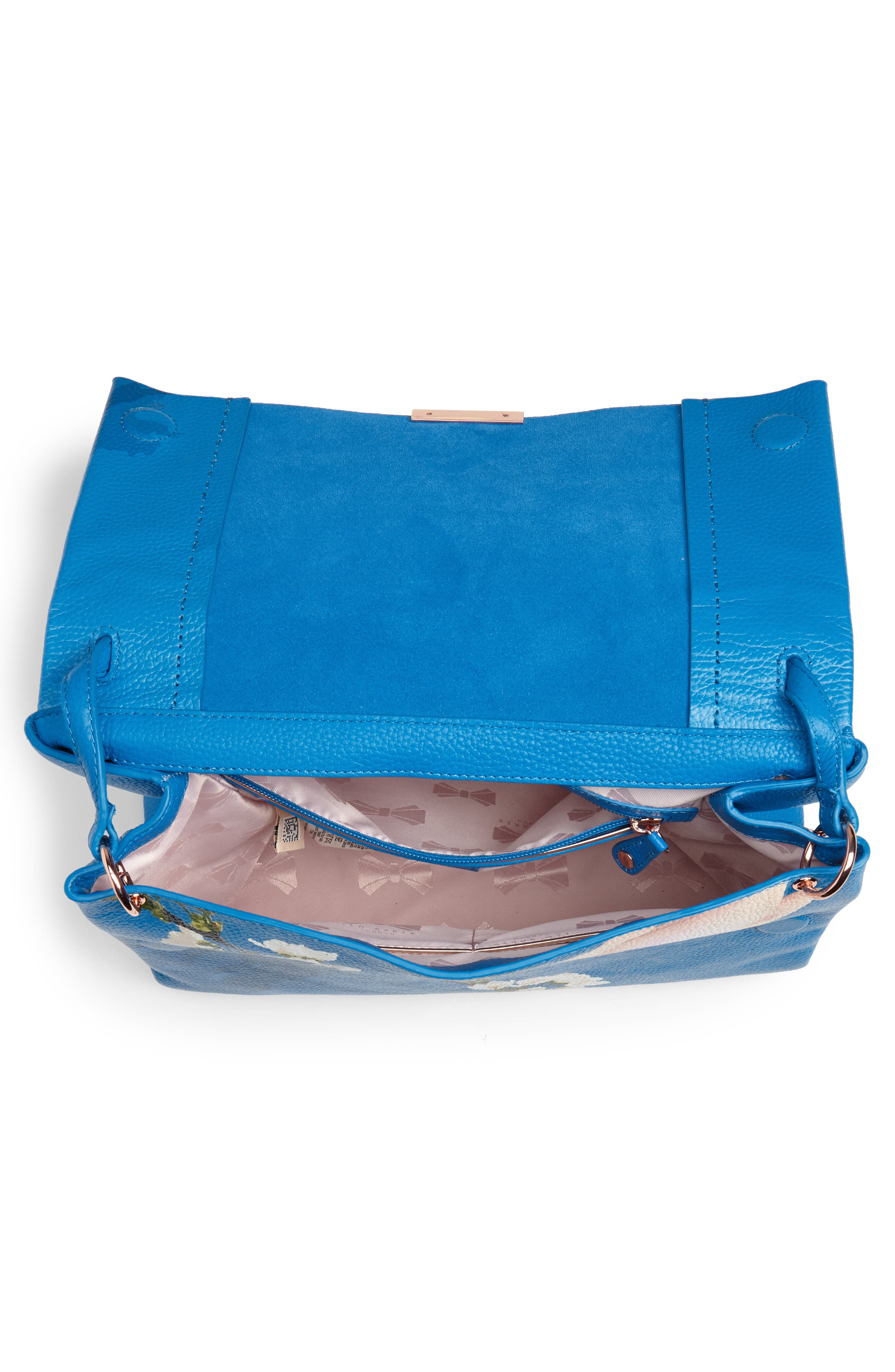 Heeidi Harmony Print Leather Shoulder Bag,                             Alternate thumbnail 4, color,                             Bright Blue
