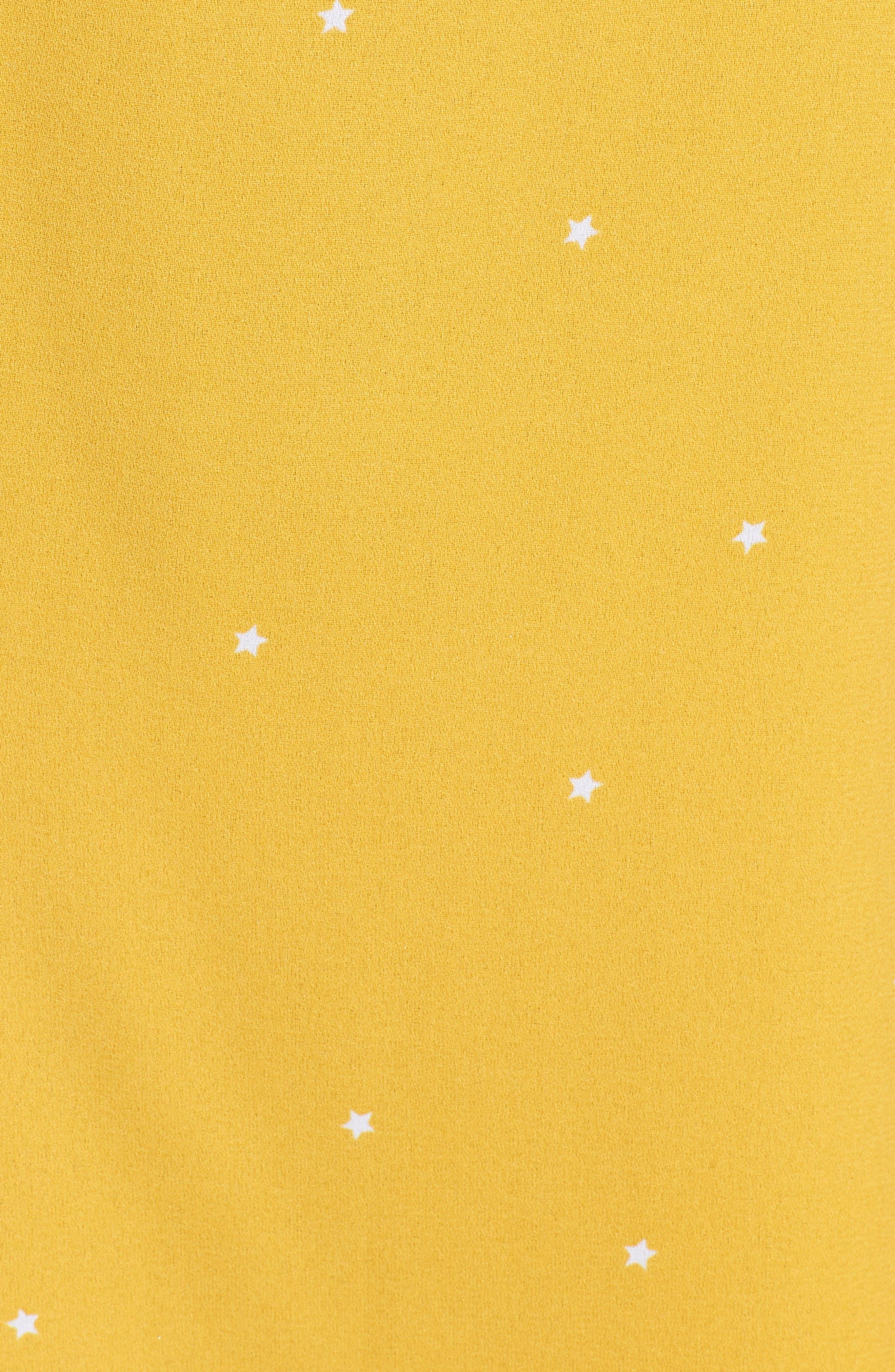 Mental 4 Metal Star Print Dress,                             Alternate thumbnail 6, color,                             Citrus Gold