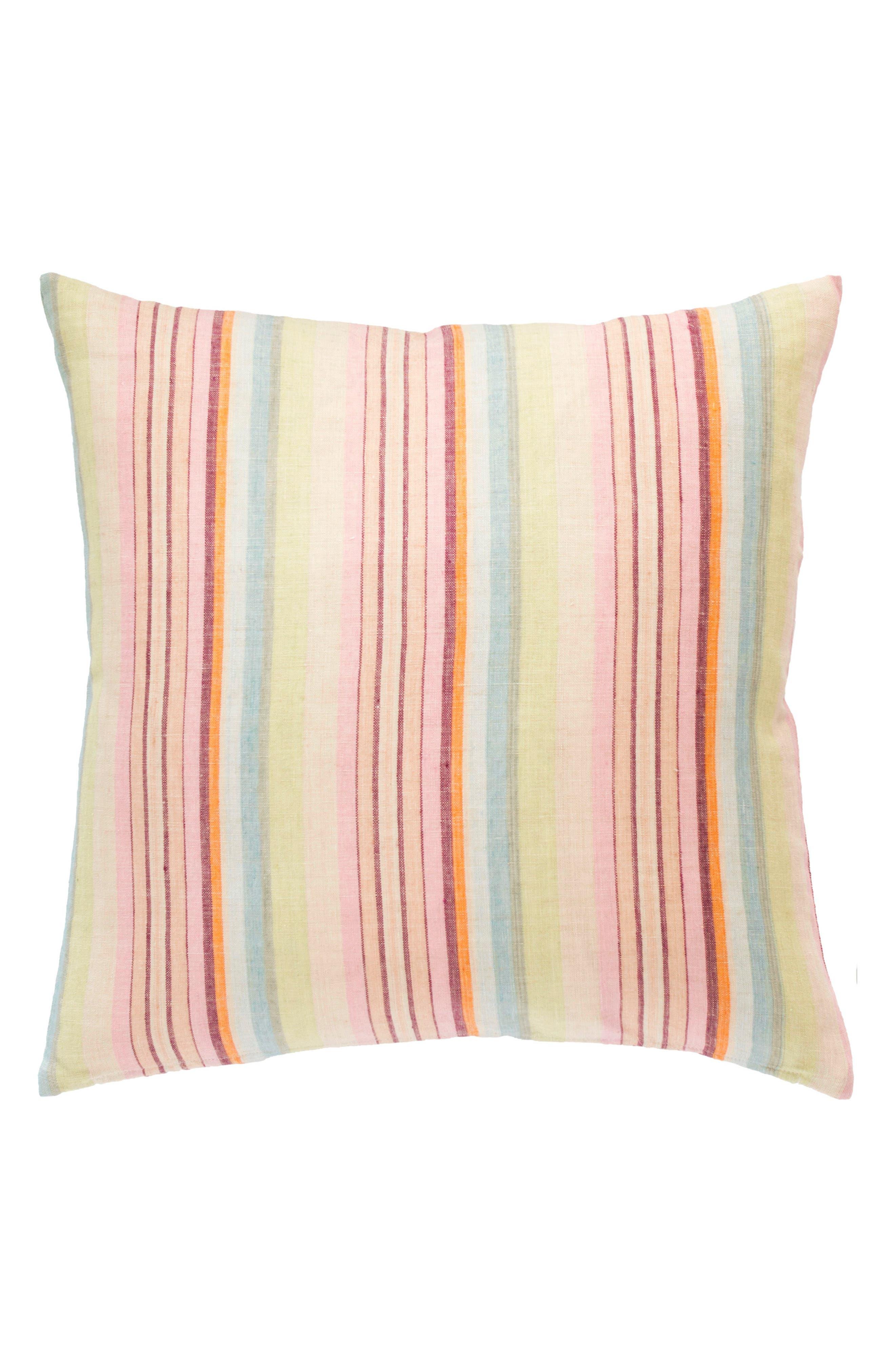 Savona Stripe Linen Accent Pillow,                             Main thumbnail 1, color,                             Pink