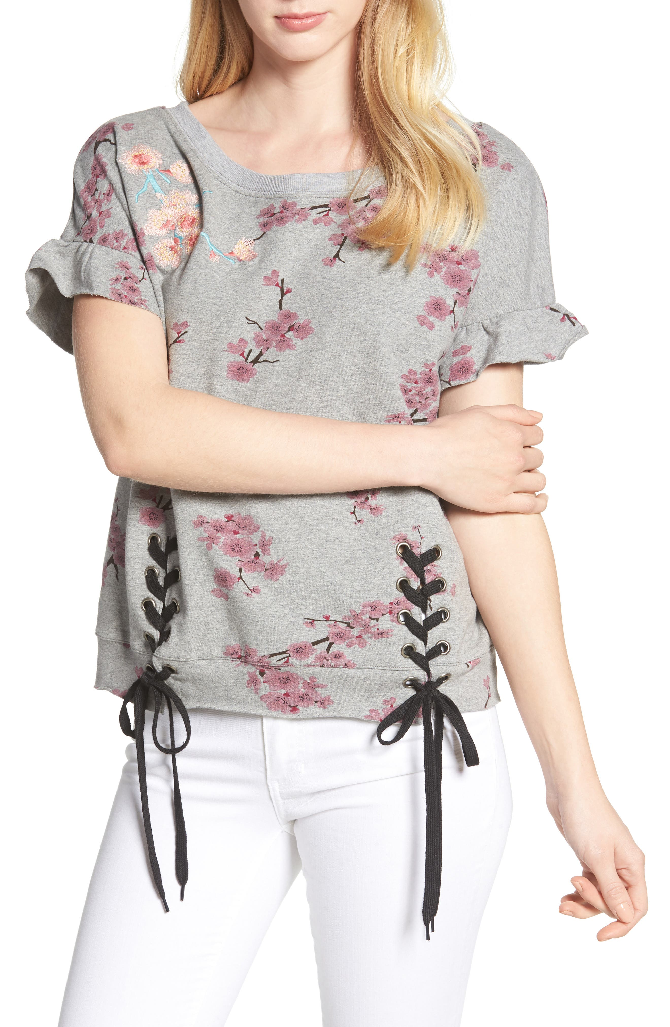 Short Sleeve Lace Up Cherry Blossom Sweatshirt,                         Main,                         color, Grey Cherry Blossom