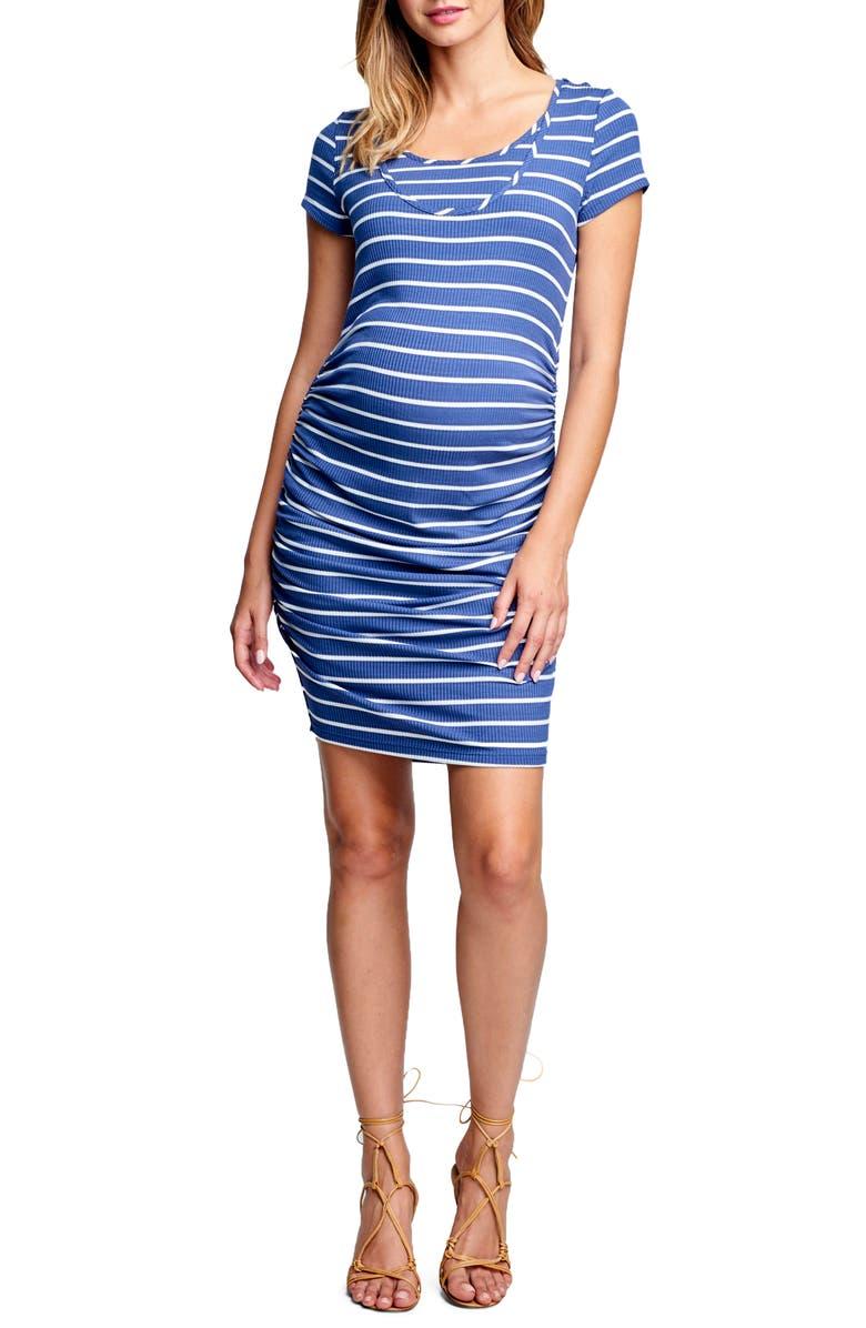 Short Sleeve Ruched Maternity/Nursing Dress