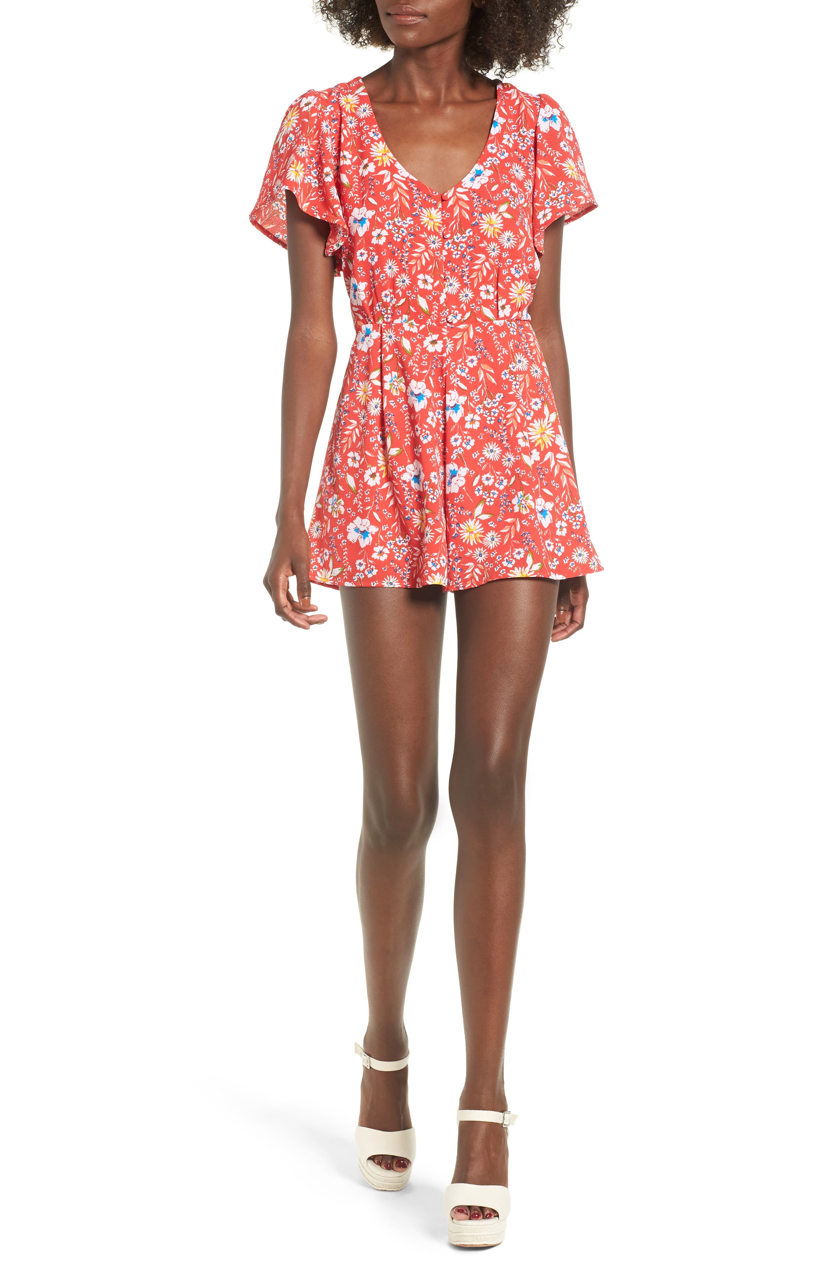 Floral Romper,                             Main thumbnail 1, color,                             Red Floral