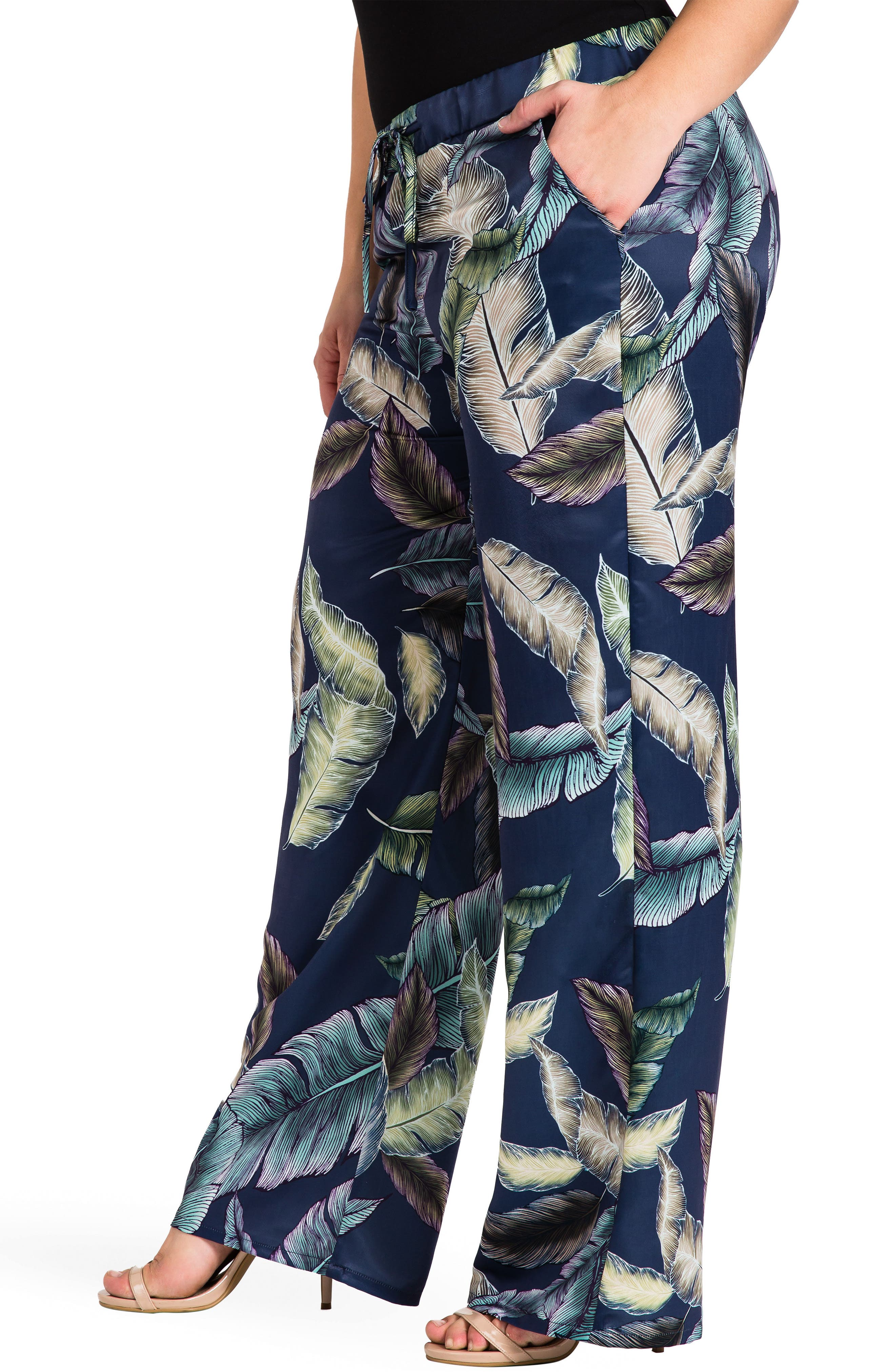 Rada Print Wide Leg Pants,                             Alternate thumbnail 4, color,                             Leaf Print