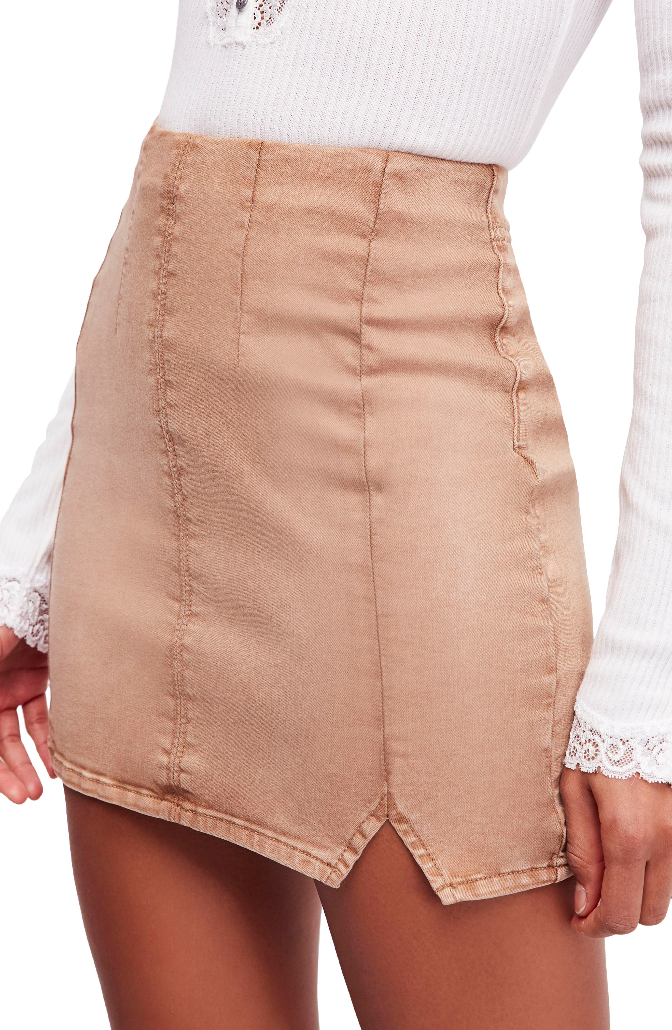 Femme Fatale Pull On Skirt,                             Main thumbnail 1, color,                             Khaki