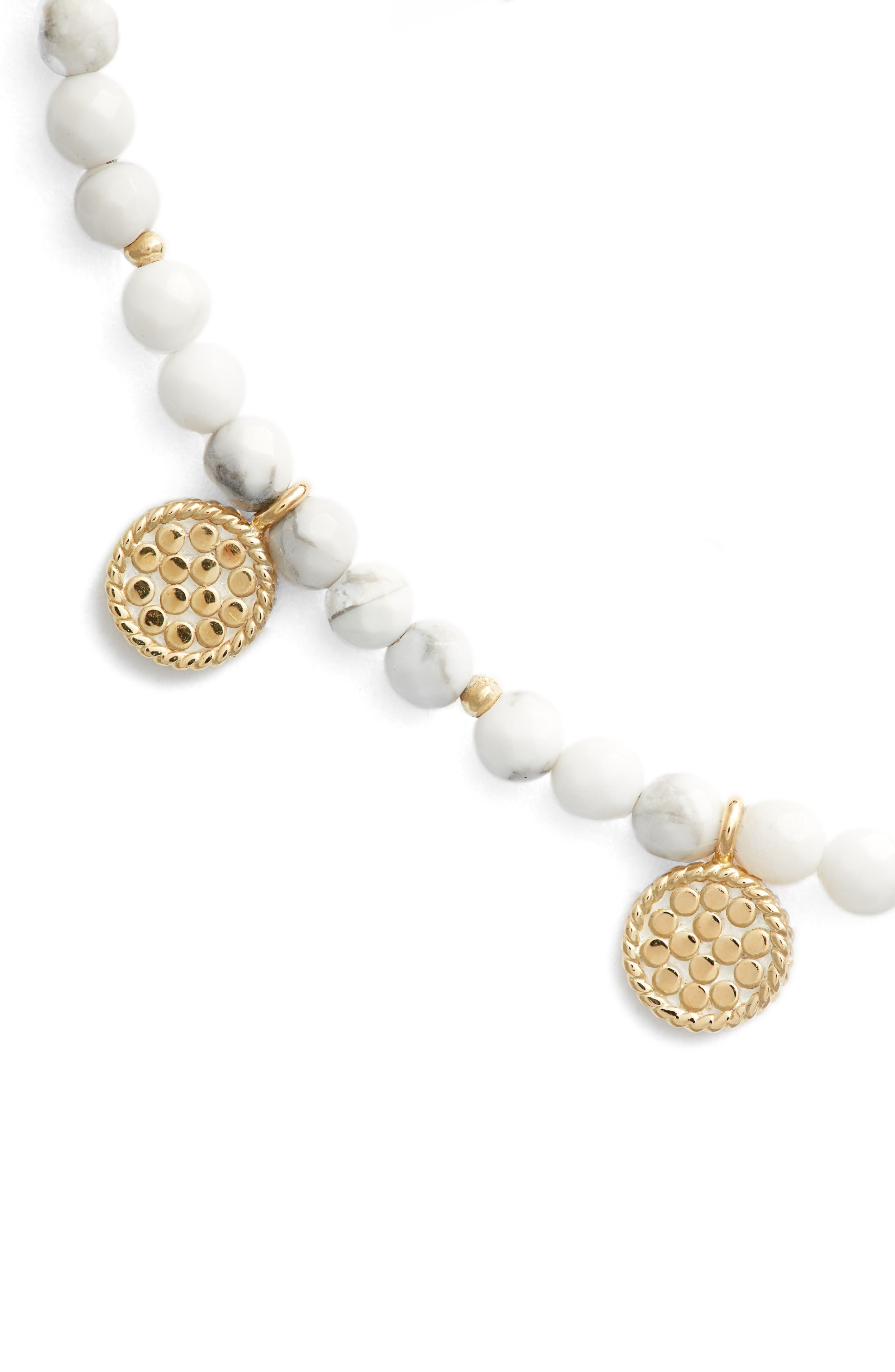 Howlite Beaded Charm Necklace,                             Alternate thumbnail 2, color,                             Gold/ Howlite