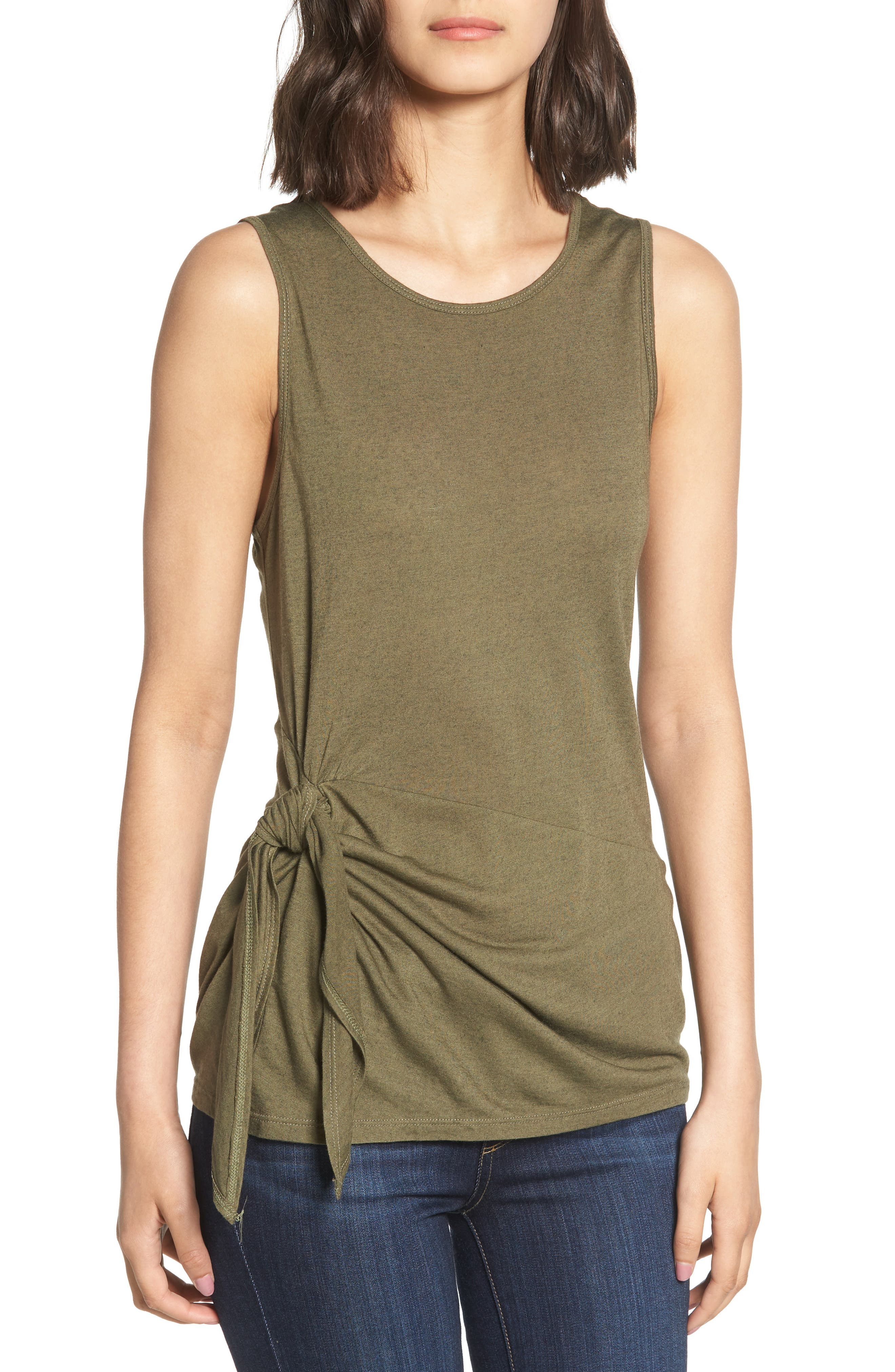 Side Tie Knit Top,                             Main thumbnail 1, color,                             Olive Sarma