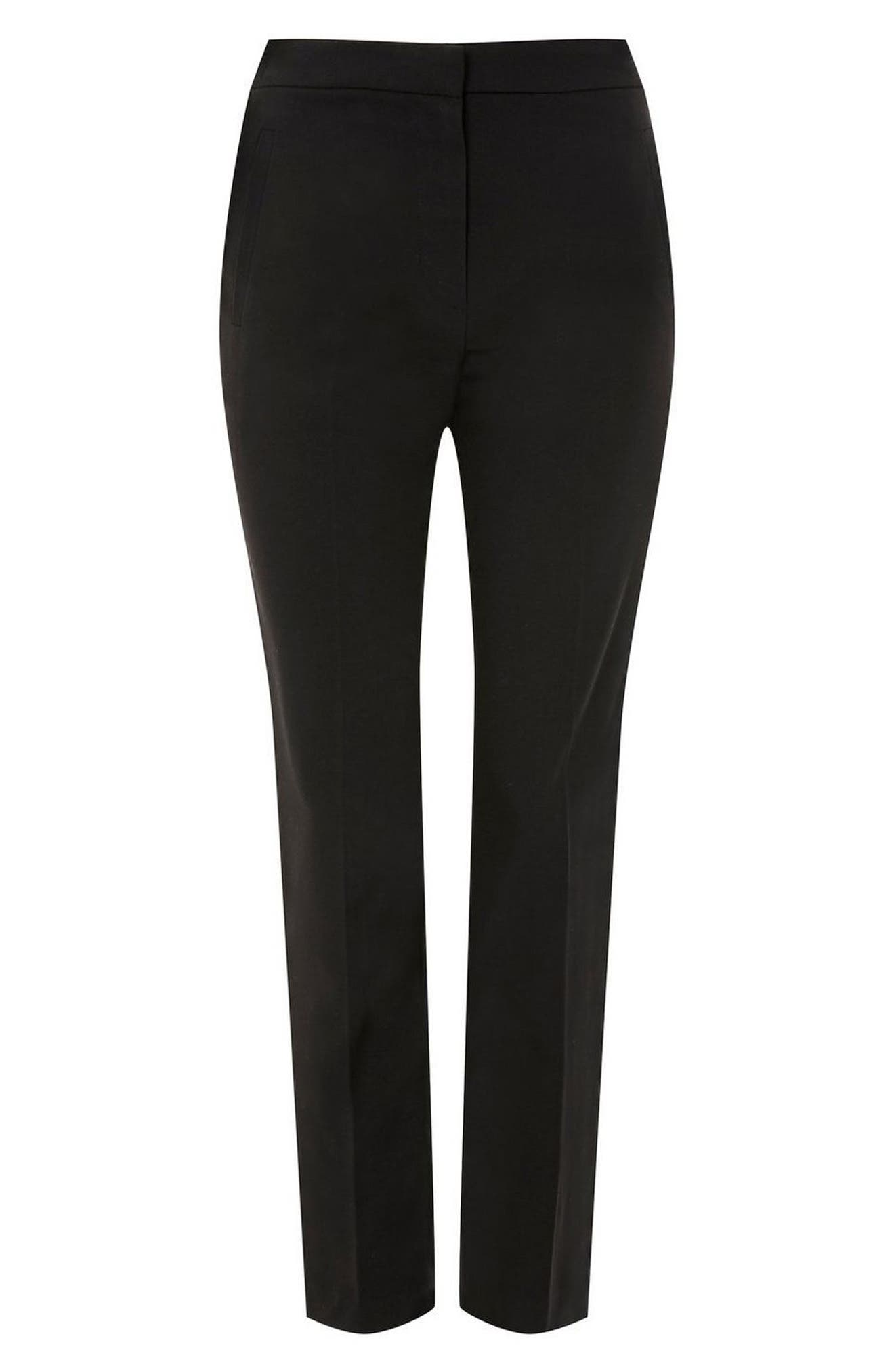 High Waist Cigarette Trousers,                             Alternate thumbnail 4, color,                             Black