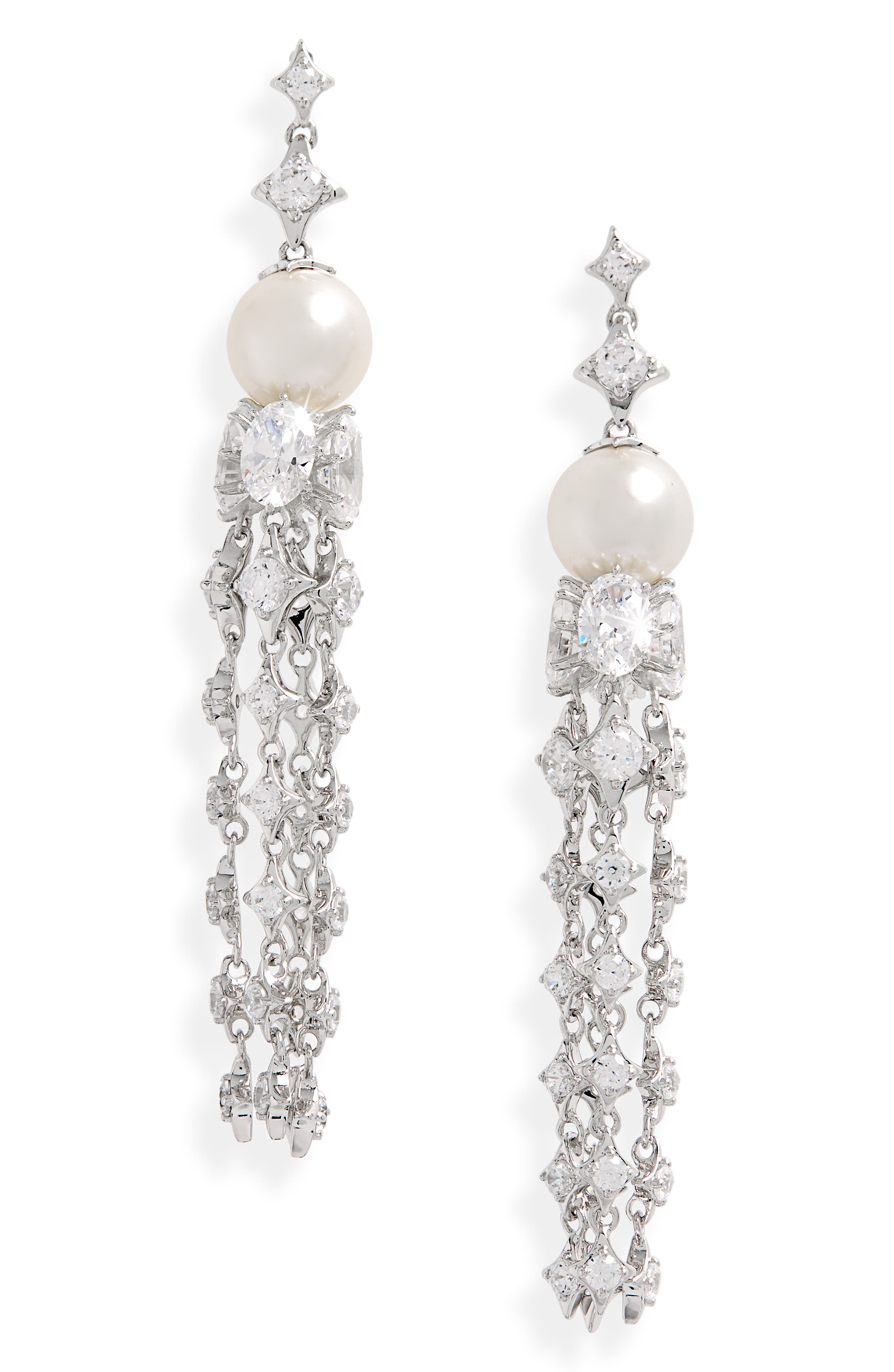 Nadri Boho Imitation Pearl Linear Earrings