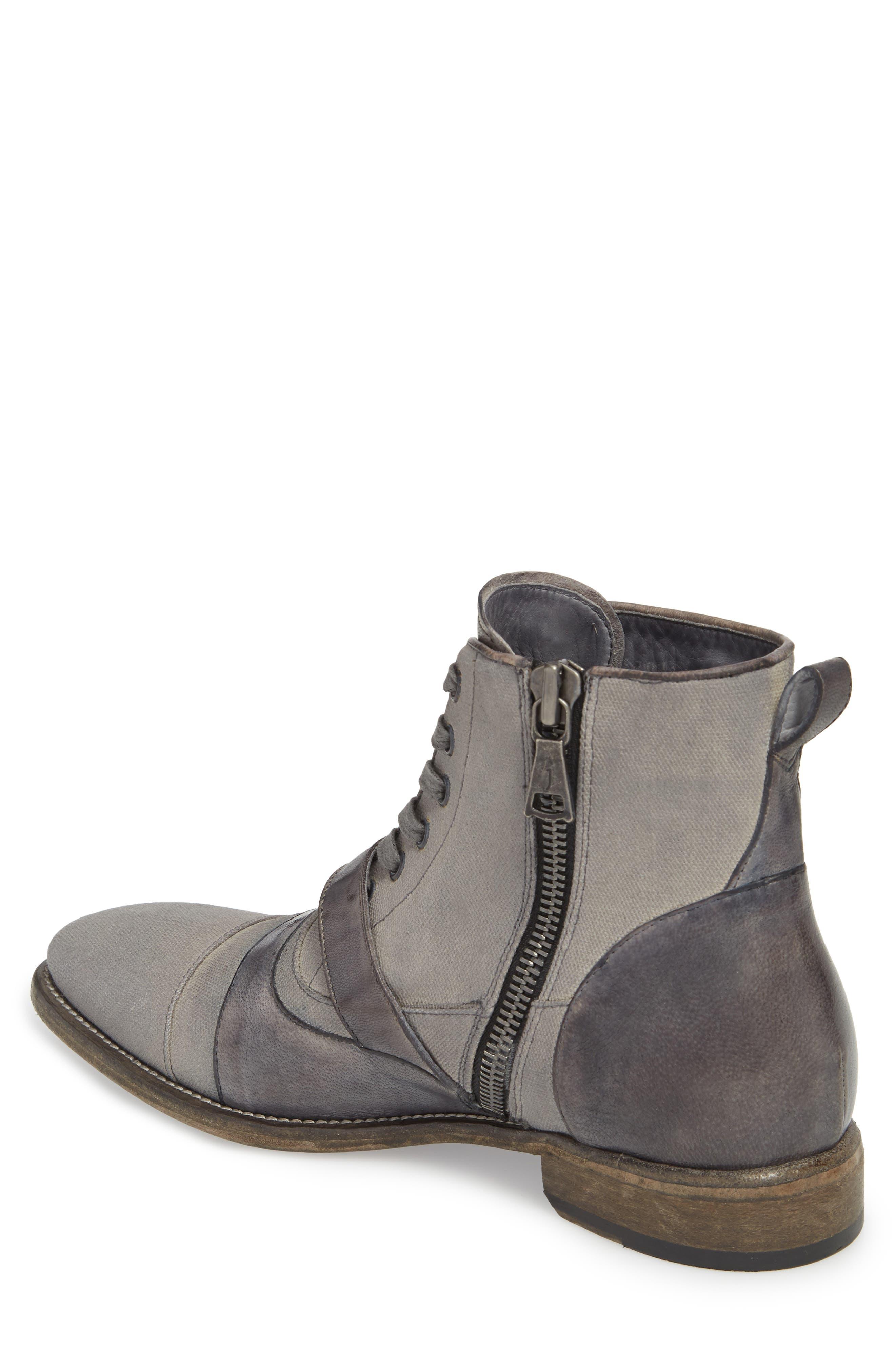 John Varvatos Fleetwood Buckle Cricket Boot,                             Alternate thumbnail 2, color,                             Lead Canvas/ Leather