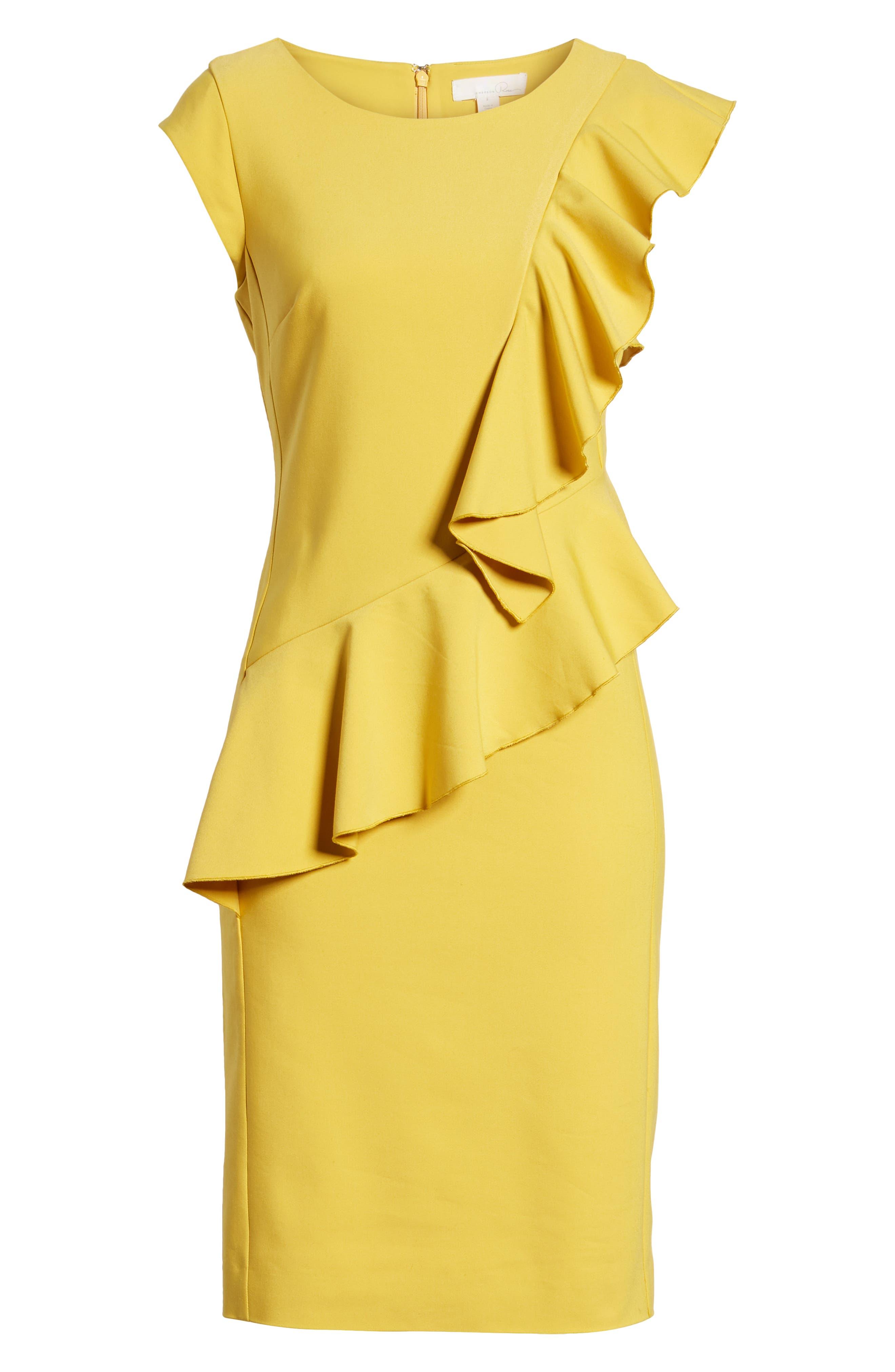 Ruffle Trim Sheath Dress,                             Alternate thumbnail 7, color,                             Yellow Tea
